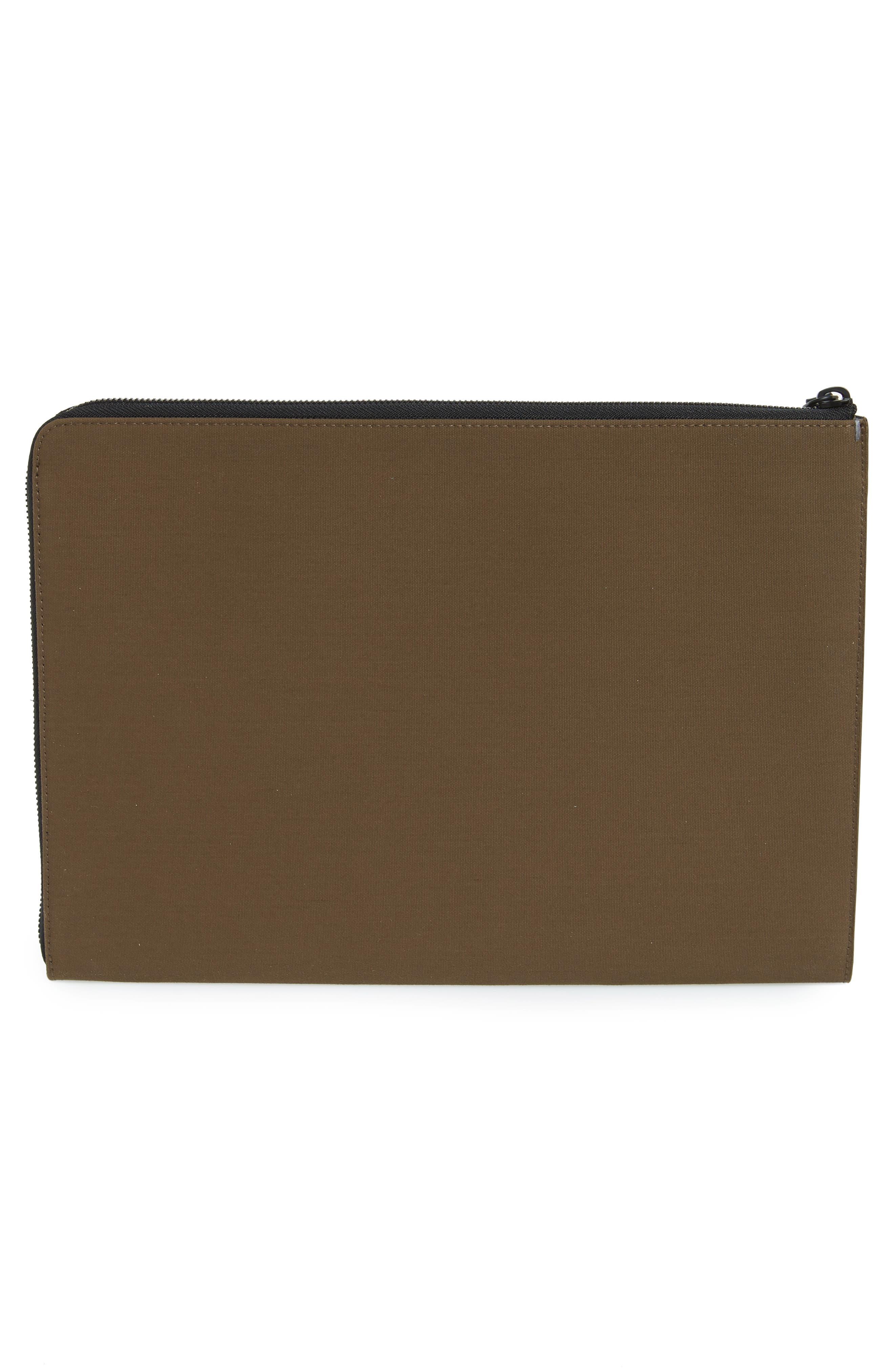 Portfolio Case,                             Alternate thumbnail 2, color,                             Khaki Canvas/ Black Leather