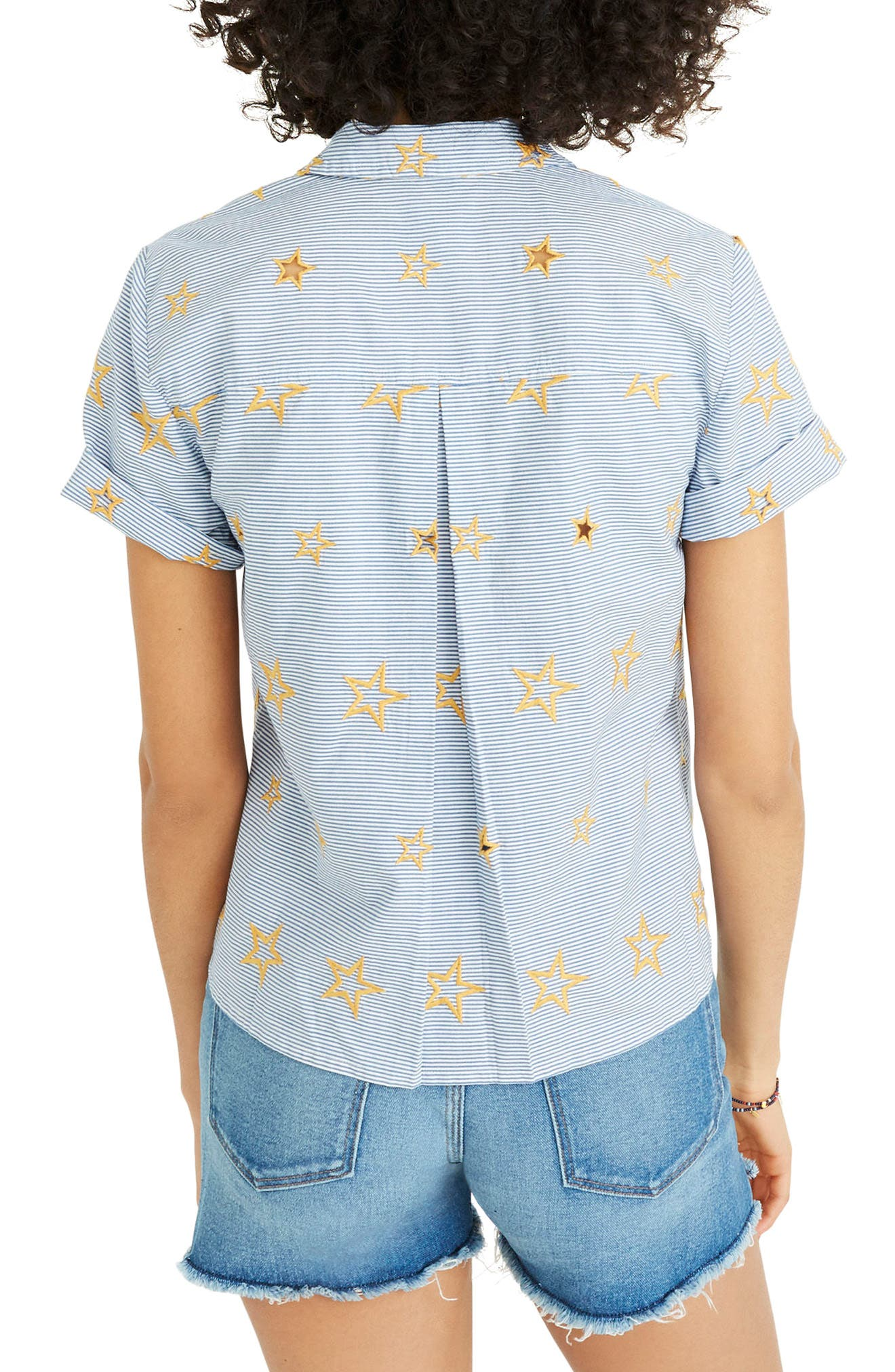 Star Embroidered Stripe Shirt,                             Alternate thumbnail 2, color,                             Tulum Blue