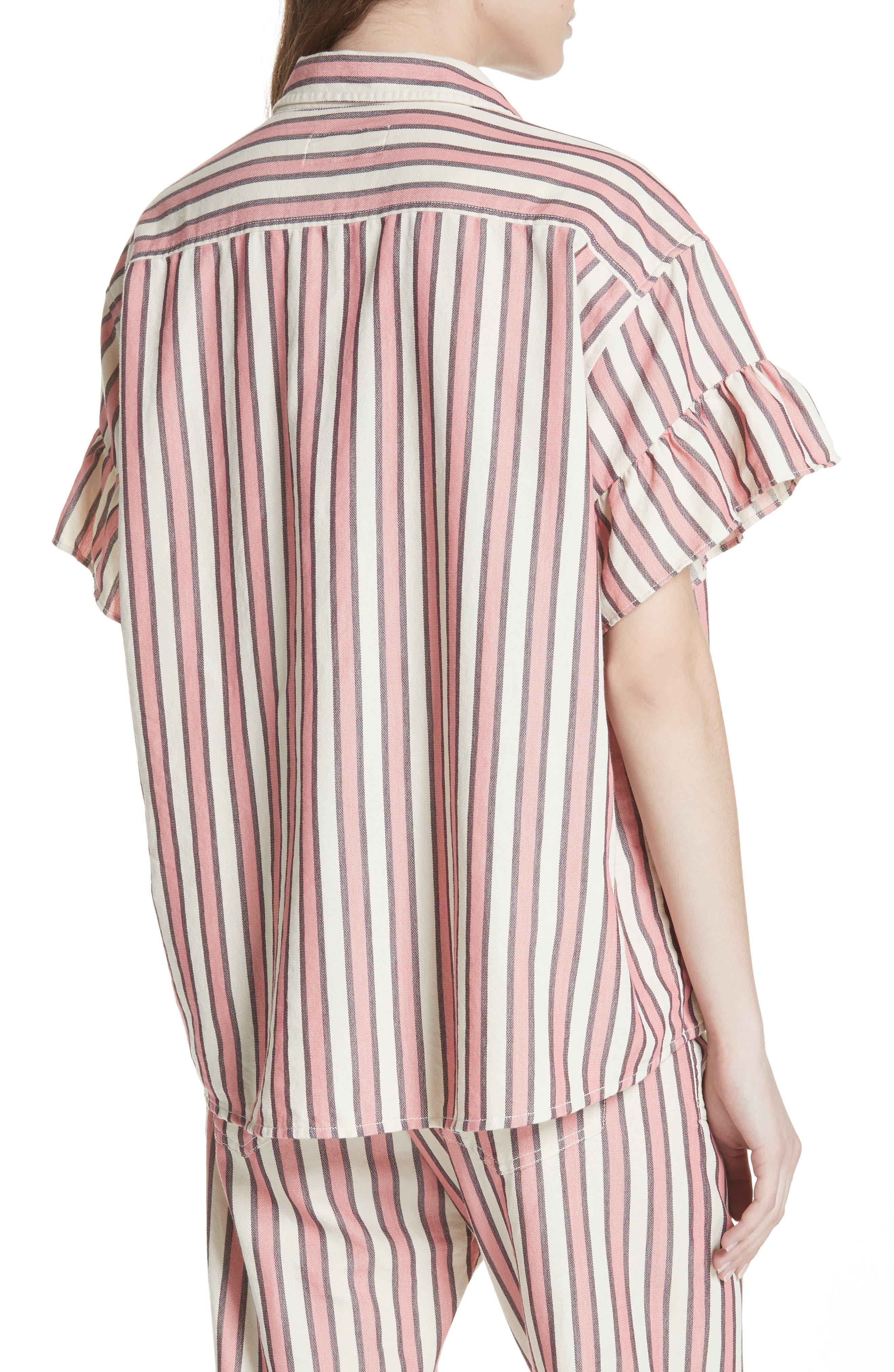 Flutter Sleeve Stripe Shirt,                             Alternate thumbnail 3, color,                             Pink Taffy Stripe