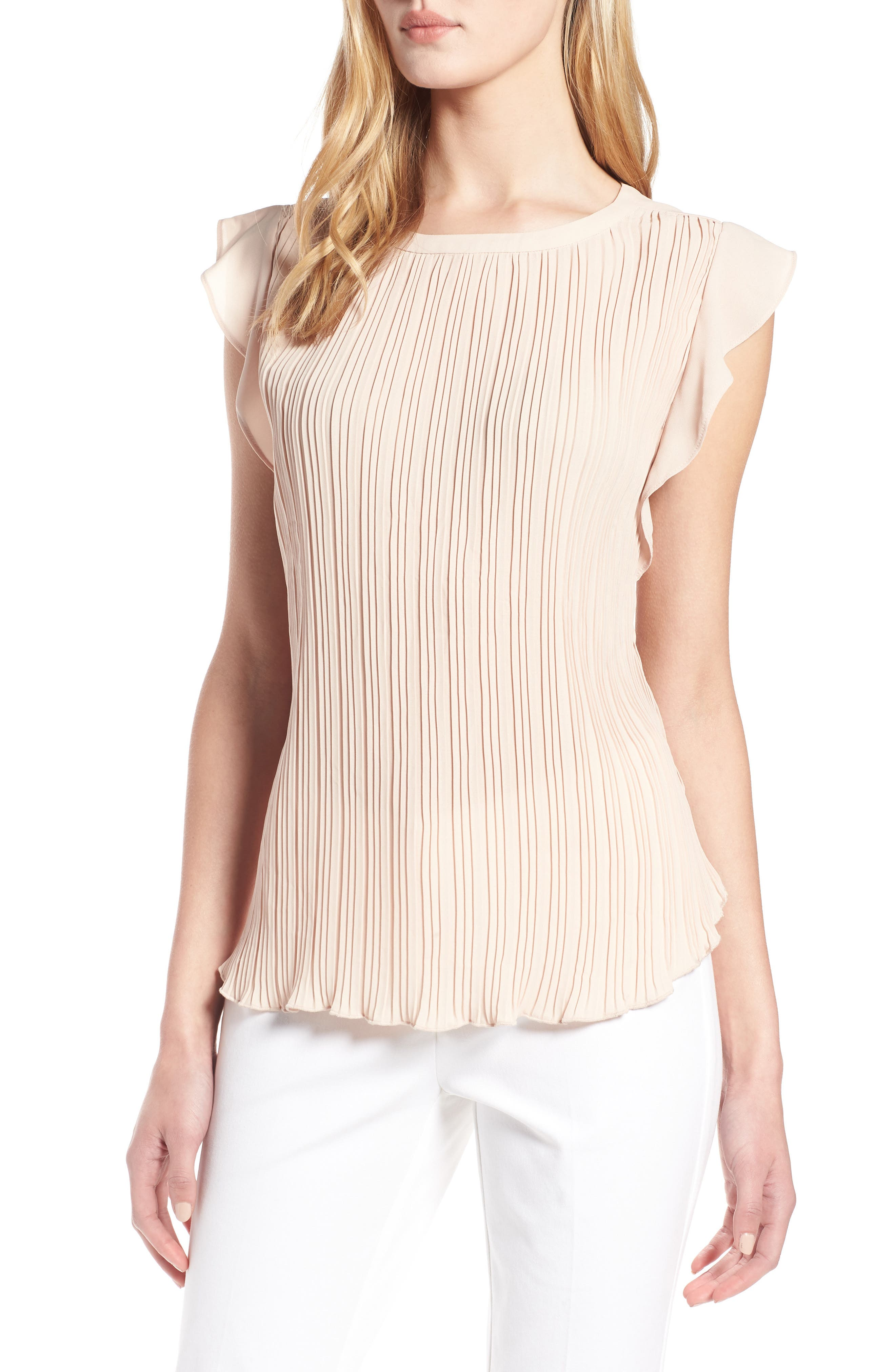 Mini Pleat Ruffle Sleeve Blouse by Halogen®
