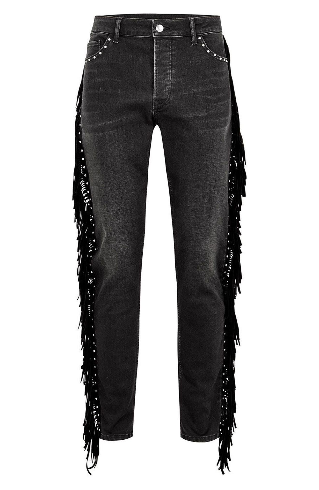 Studded Fringe Skinny Fit Jeans,                             Alternate thumbnail 3, color,                             Black