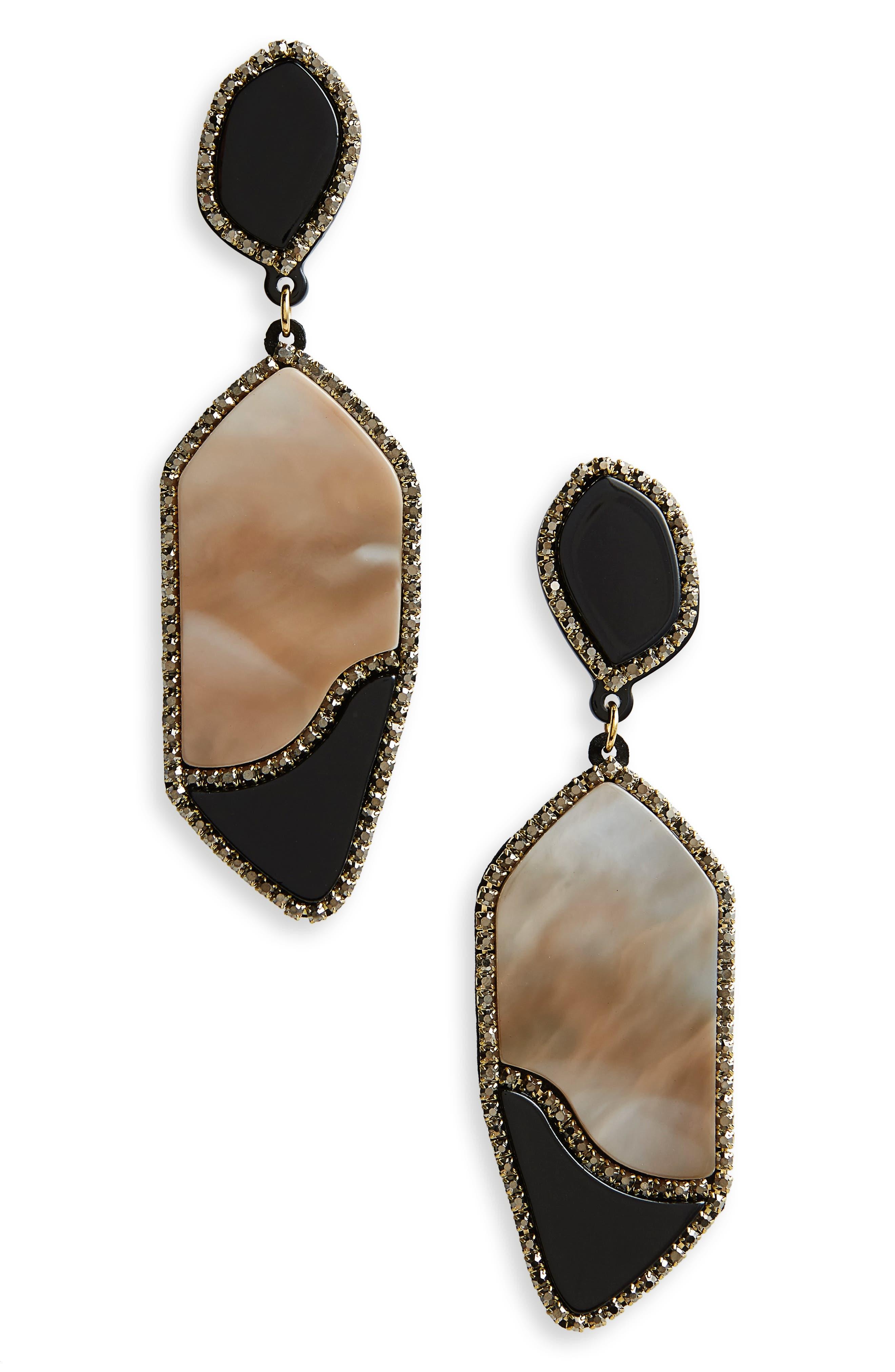 Resin Drop Earrings,                             Main thumbnail 1, color,                             Black/ White