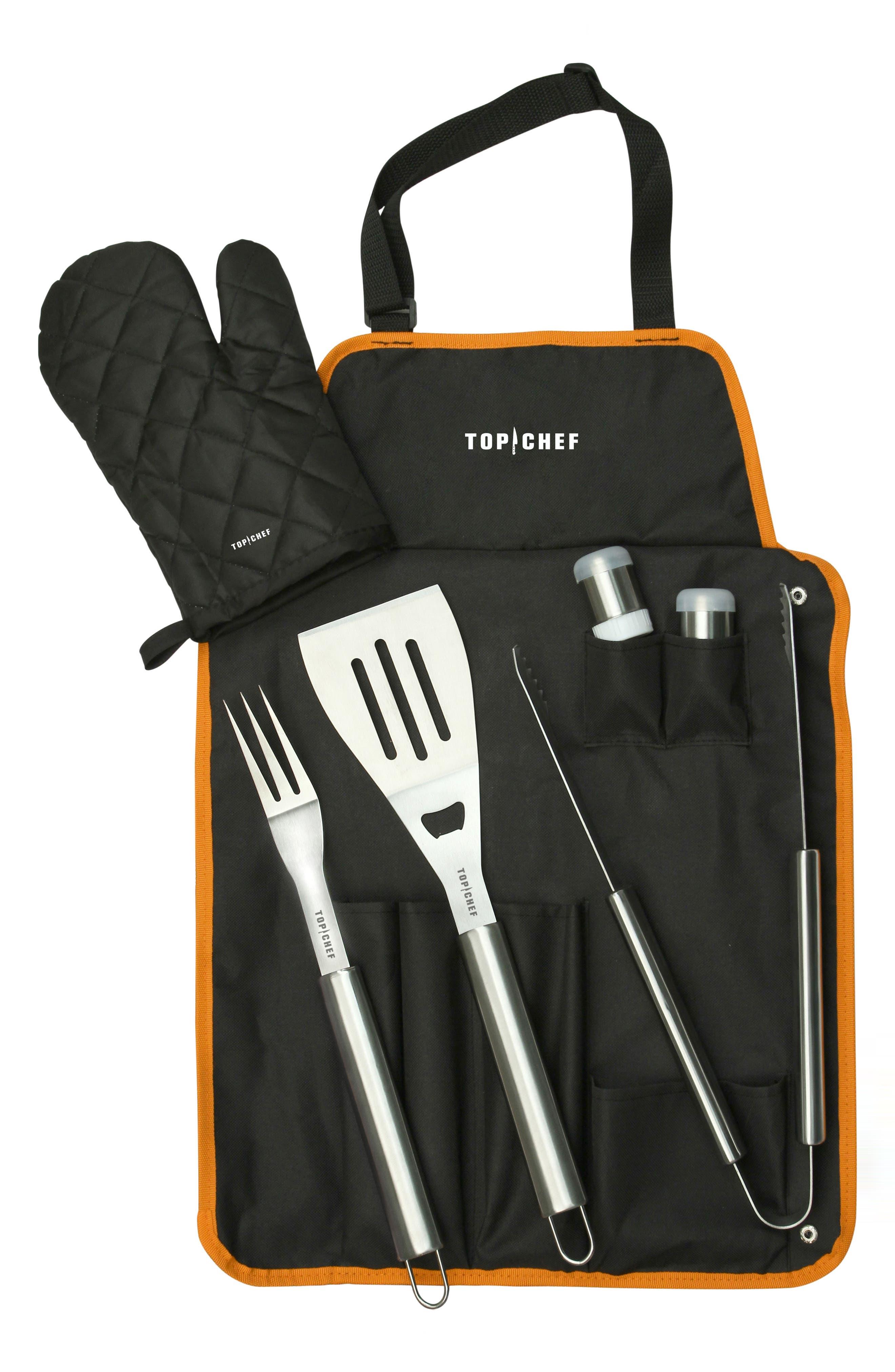Barbecue Tool Set with Apron & Mitt,                             Main thumbnail 1, color,                             Black