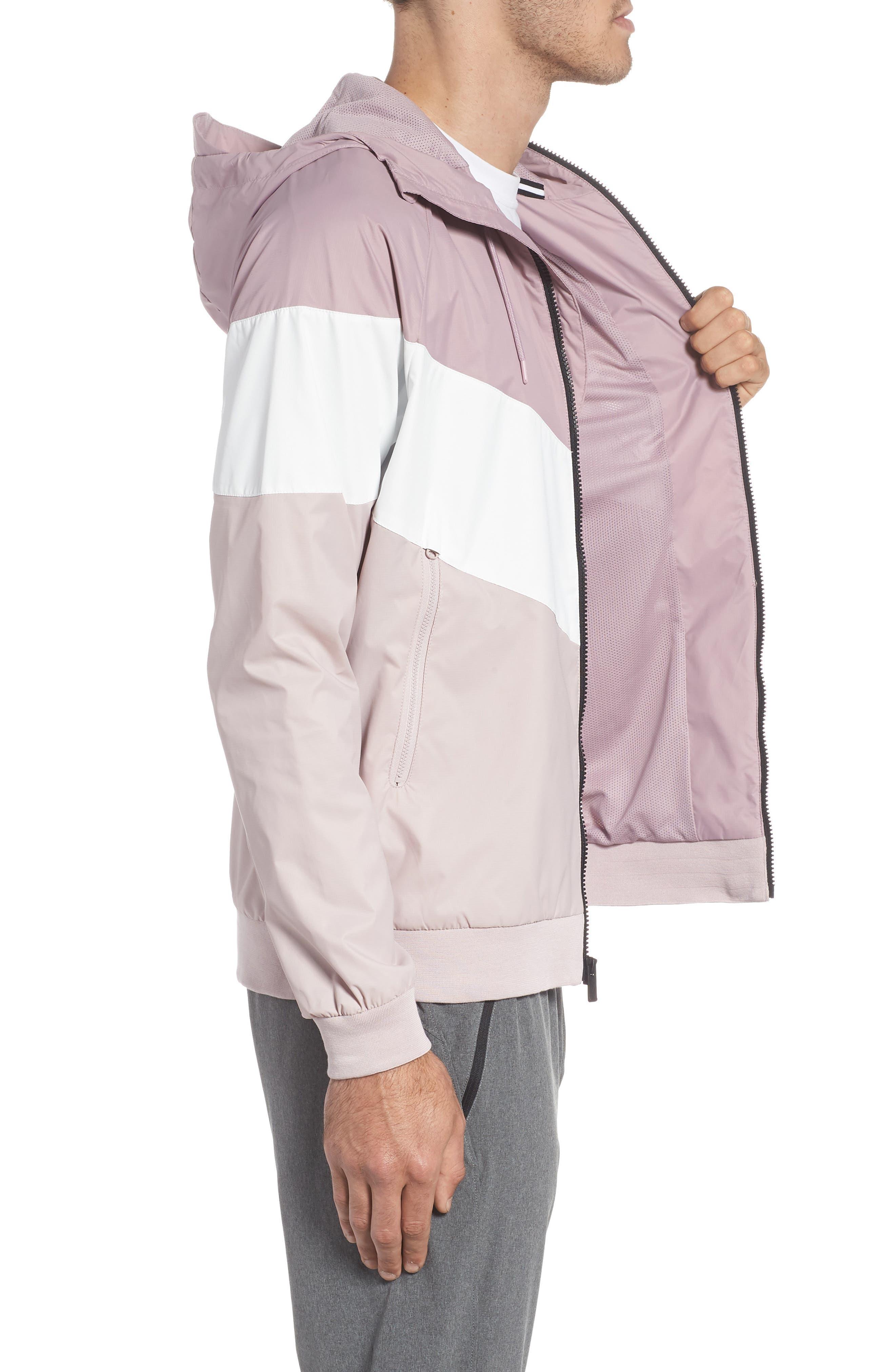 Windrunner Wind & Water Repellent Hooded Jacket,                             Alternate thumbnail 3, color,                             Elemental Rose/ Summit White