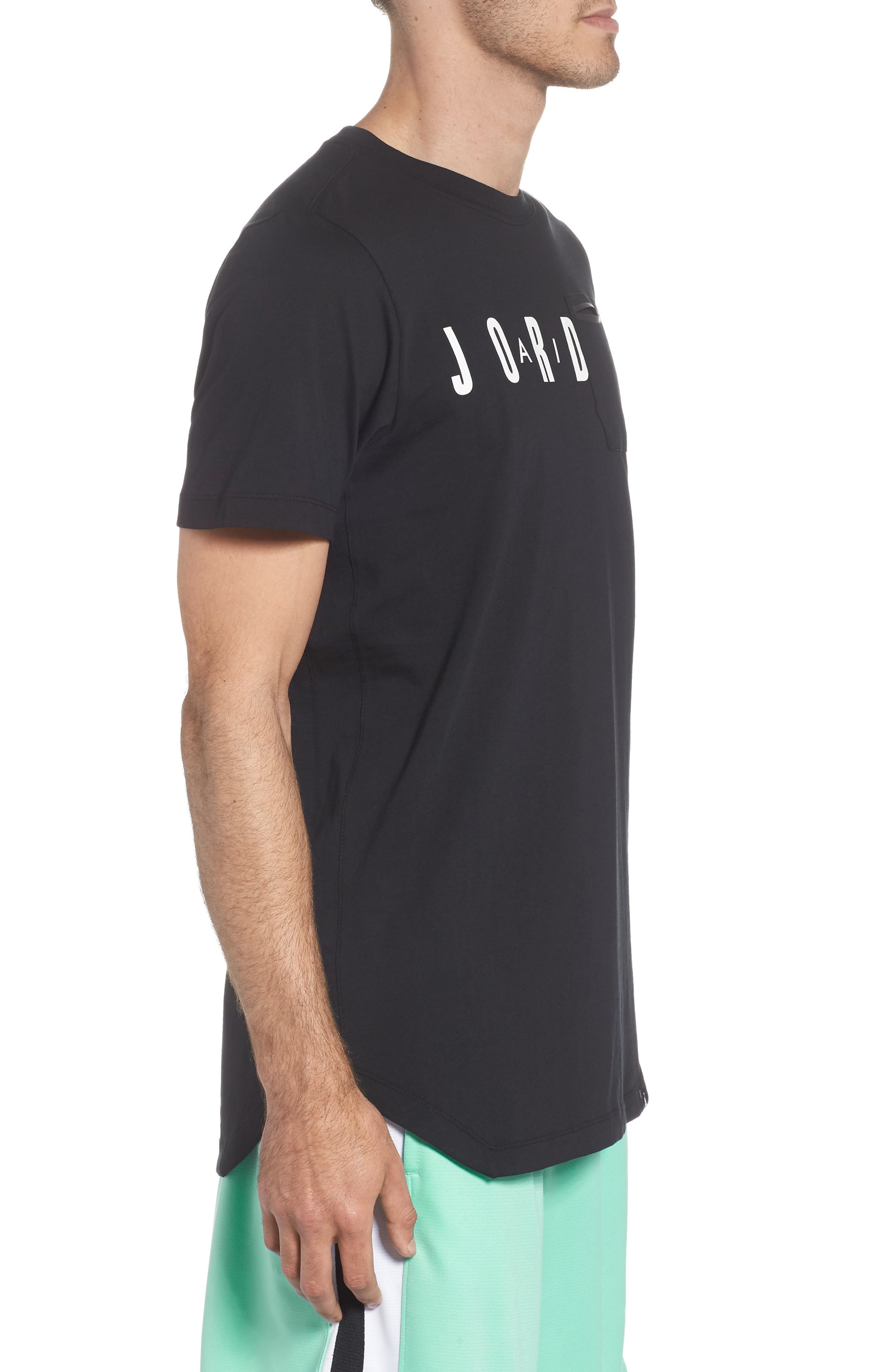 Jordan Sportswear Graphic Shirt,                             Alternate thumbnail 3, color,                             Black/ White
