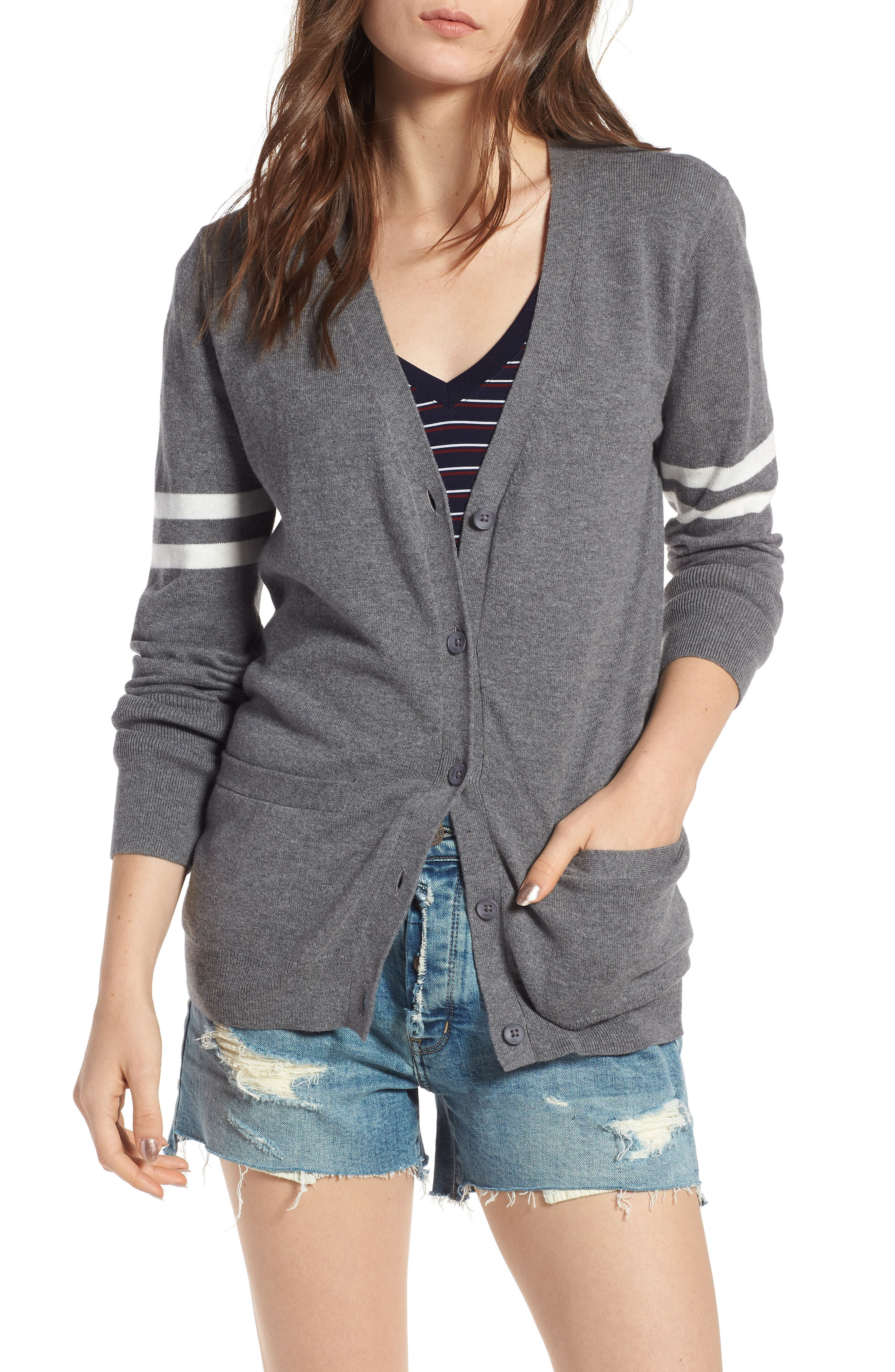 Stripe Sleeve Cardigan,                         Main,                         color, Grey Dark Heather Ivory Combo