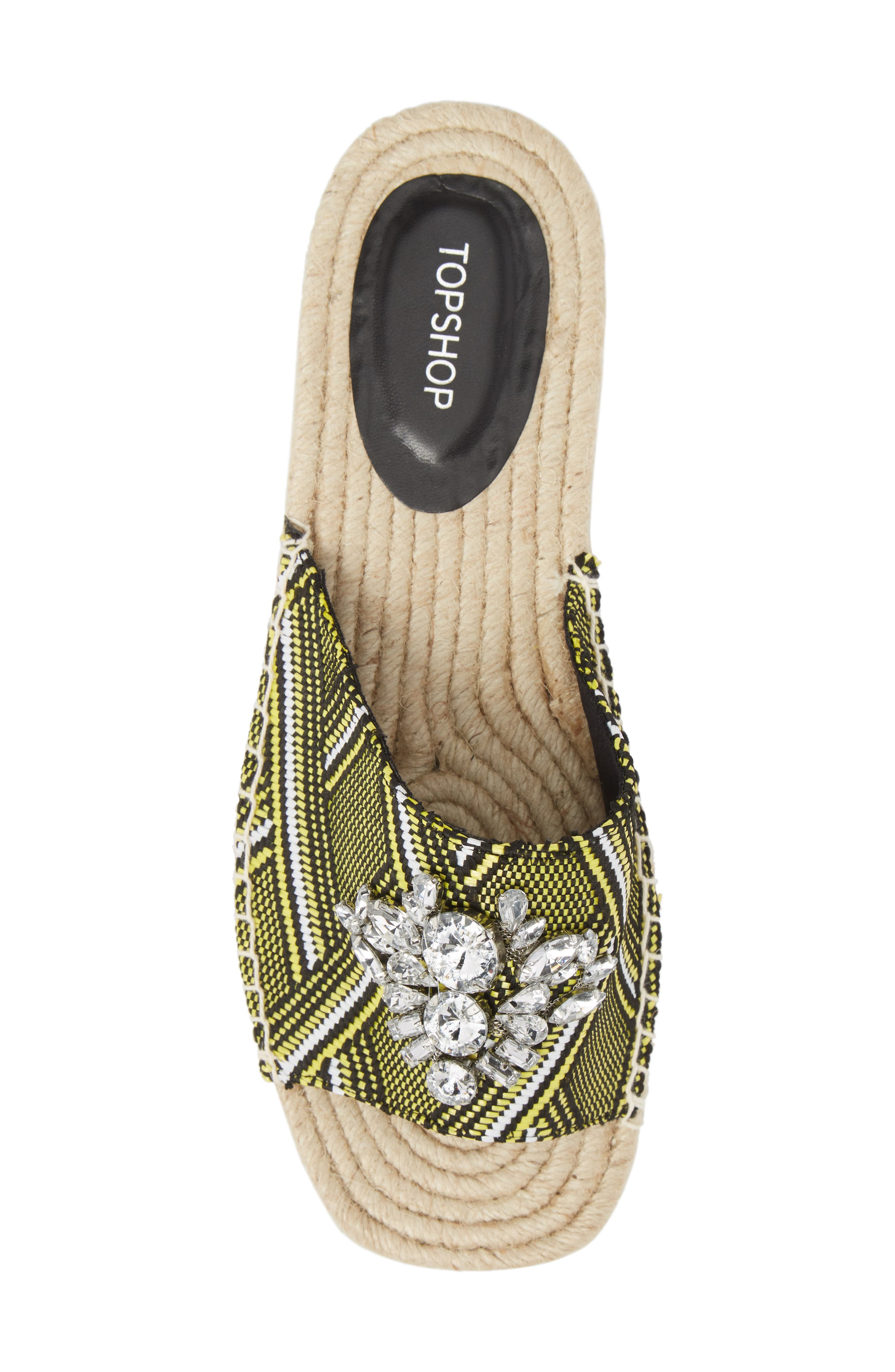 Hey Espadrille Square Slider Sandals,                             Alternate thumbnail 5, color,                             Yellow Multi