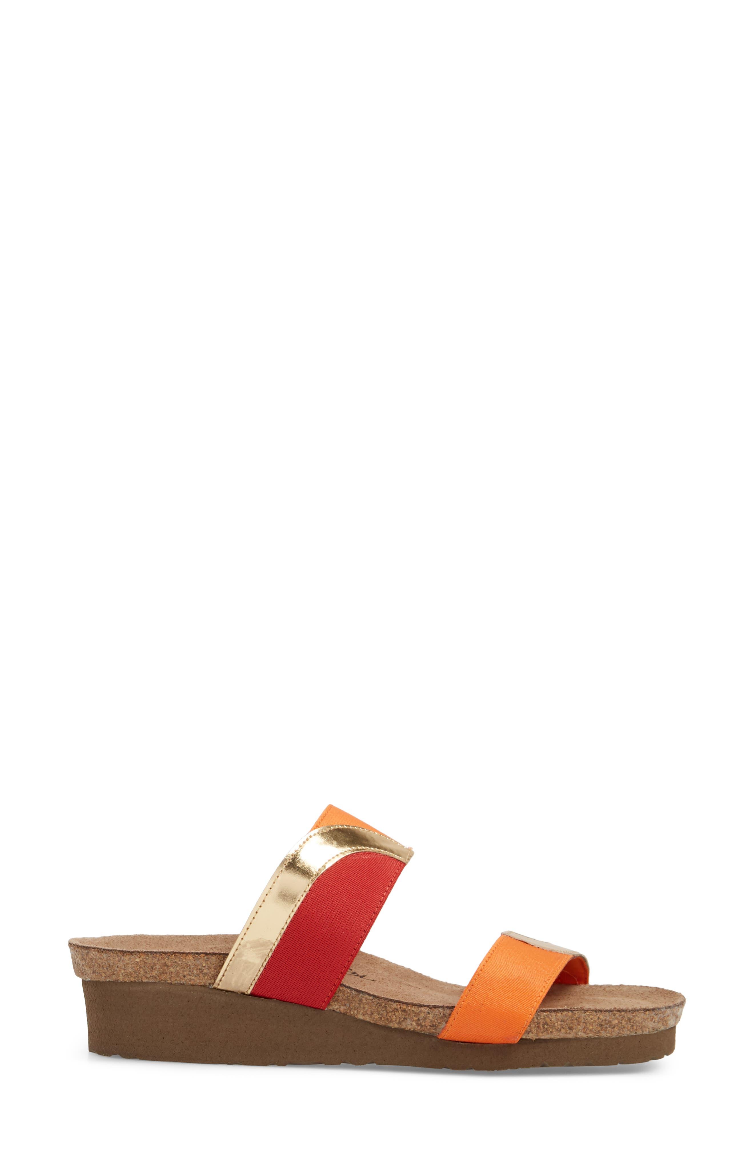 Frankie Slide Sandal,                             Alternate thumbnail 3, color,                             Red/ Orange/ Gold Leather