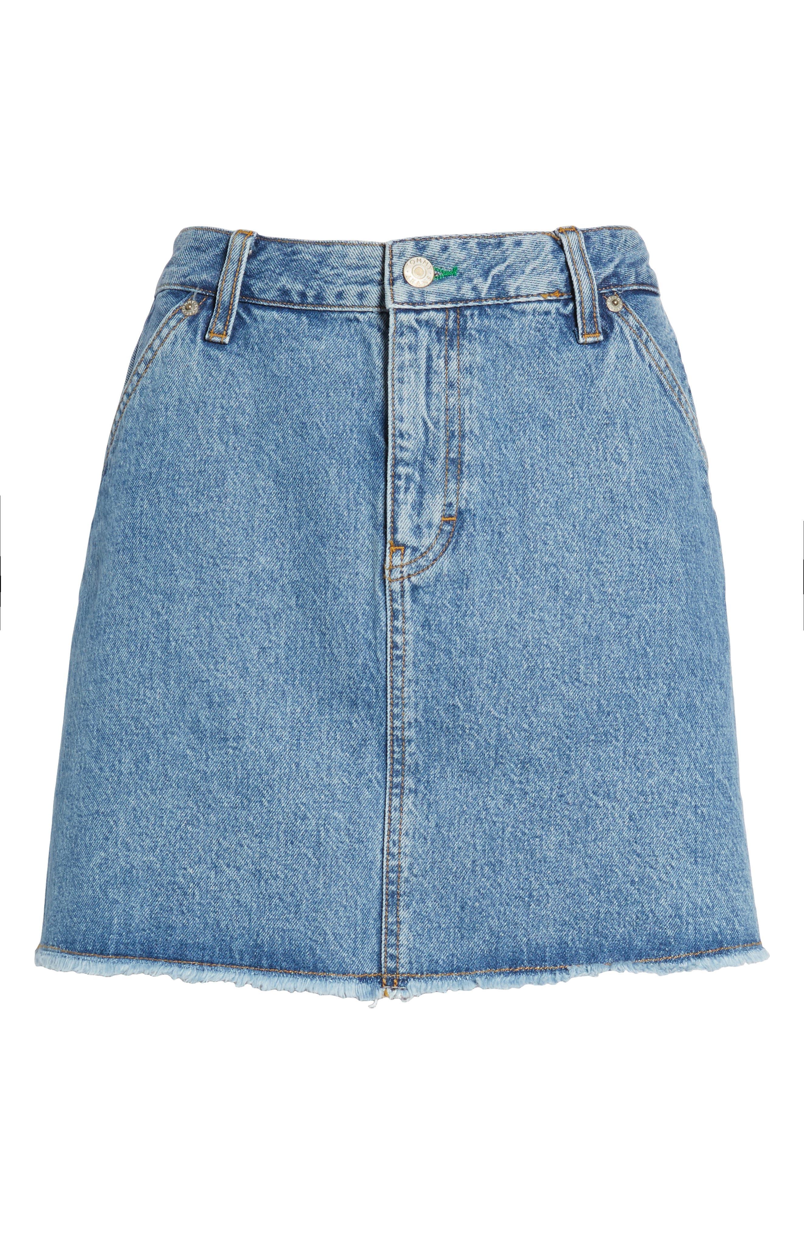 90s Denim Skirt,                             Alternate thumbnail 7, color,                             Mid Blue Denim