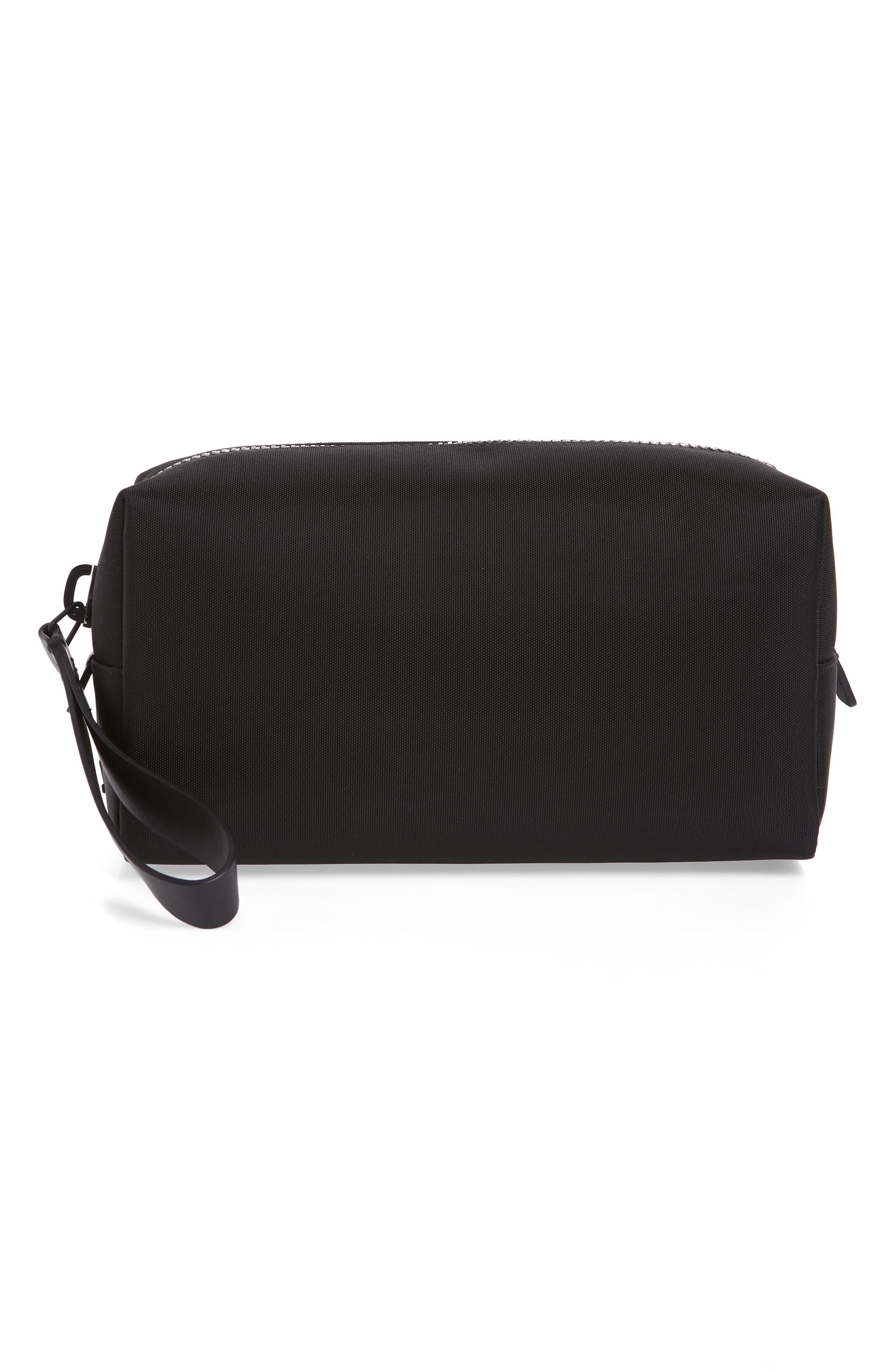 TROUBADOUR Nylon Dopp Kit in Black Nylon/ Black Leather