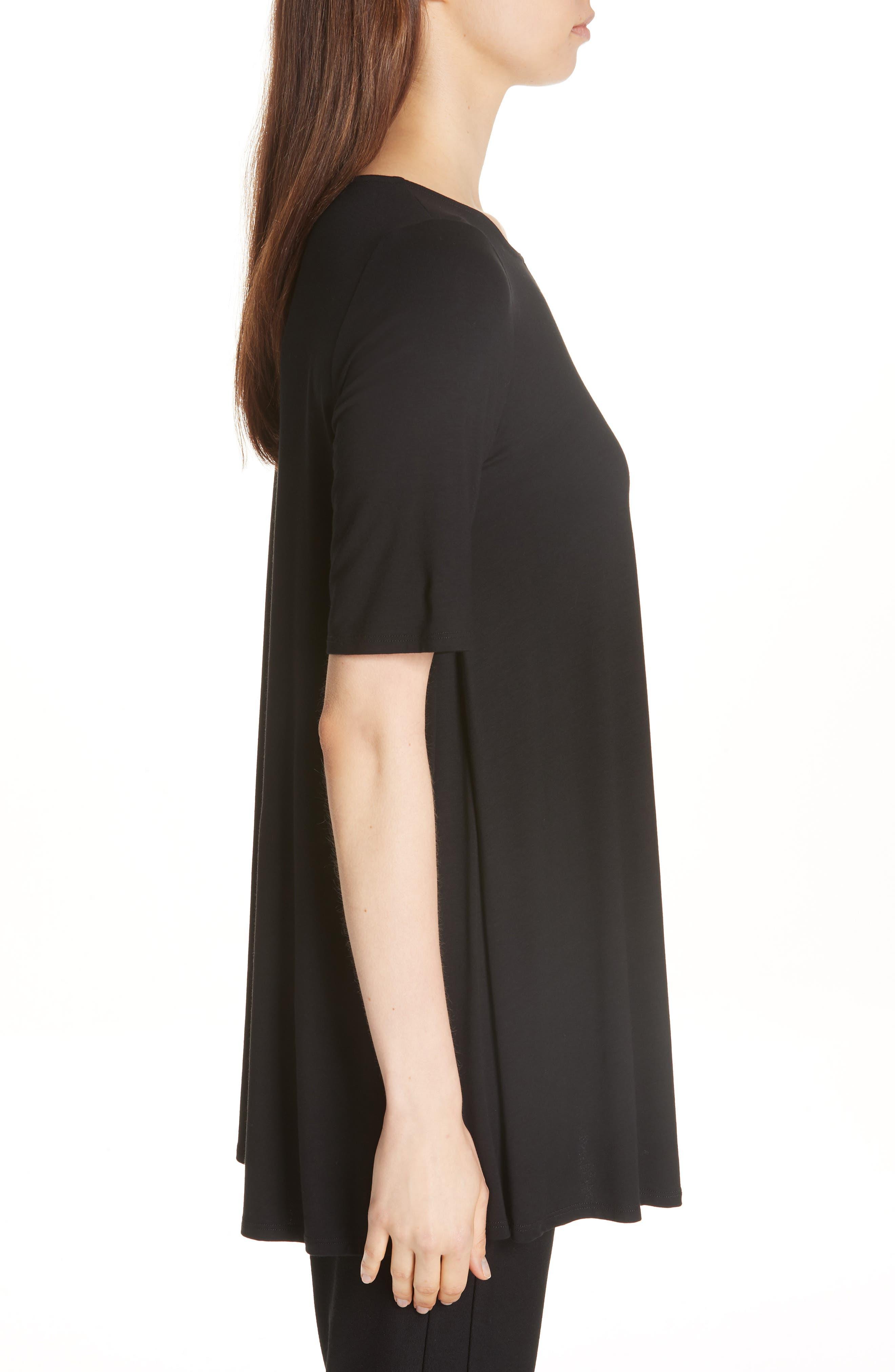 Jewel Neck Elbow Sleeve Tunic,                             Alternate thumbnail 4, color,                             Black
