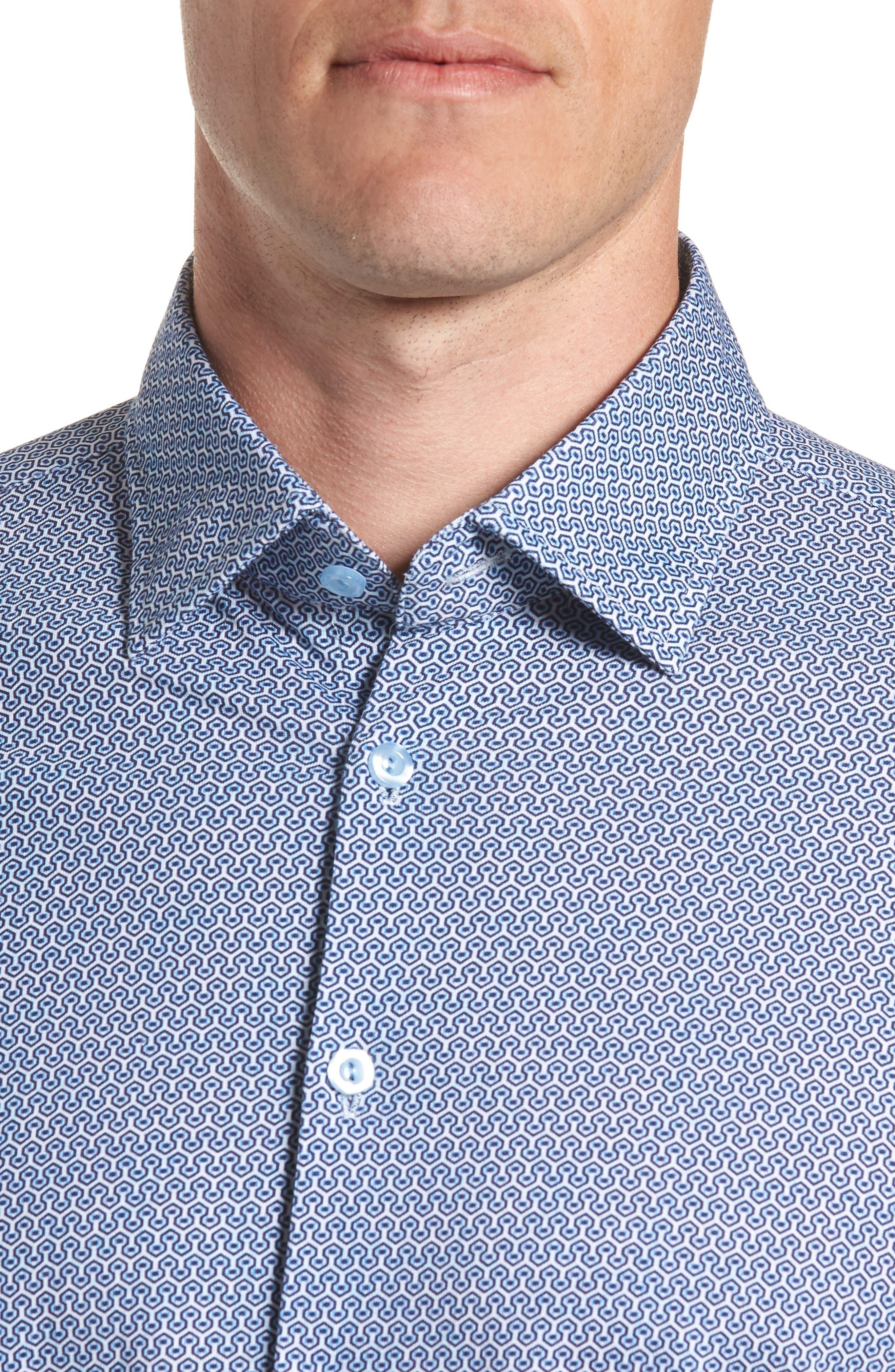 Honeycomb Print Knit Sport Shirt,                             Alternate thumbnail 2, color,                             Blue