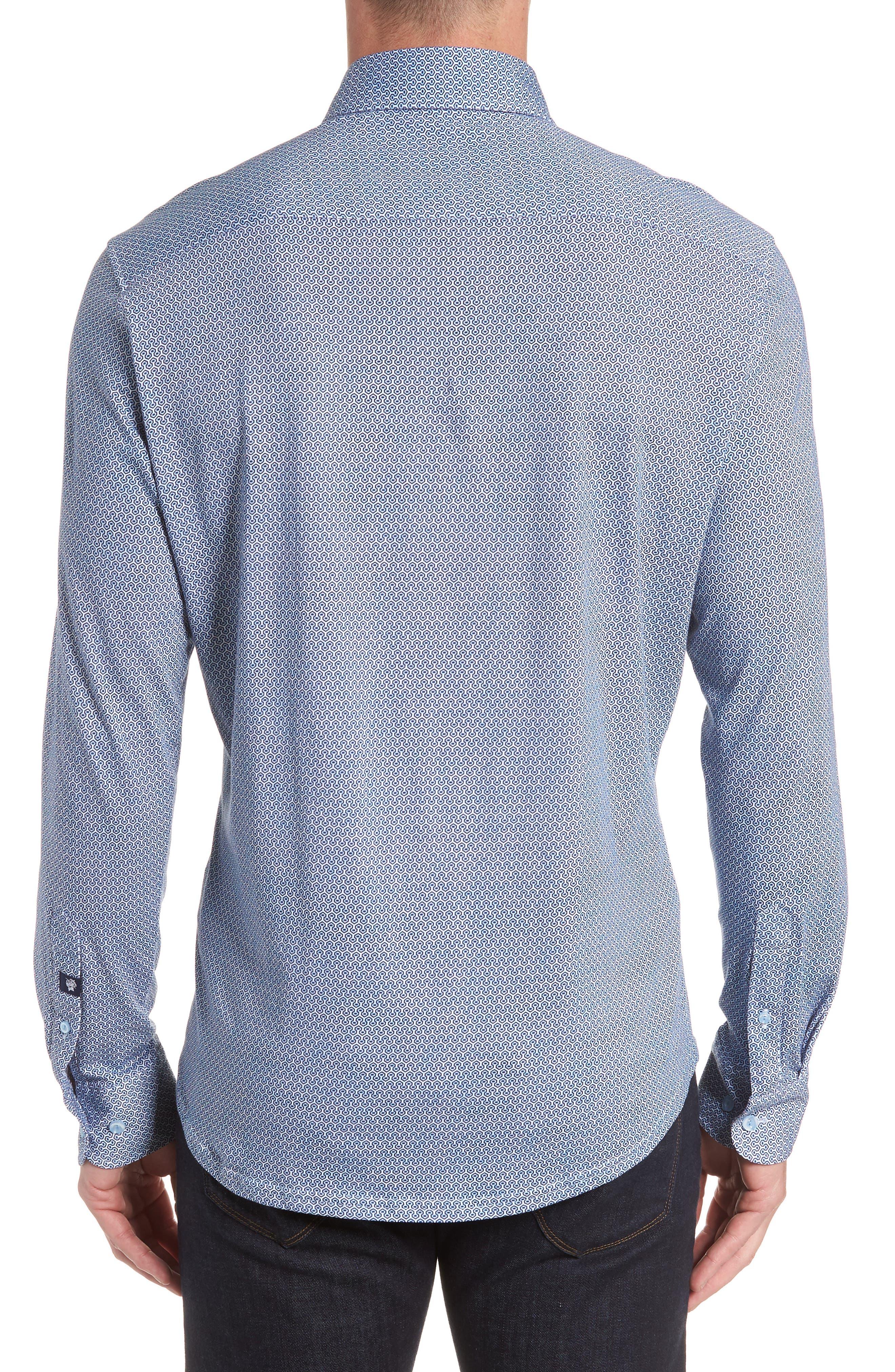 Honeycomb Print Knit Sport Shirt,                             Alternate thumbnail 3, color,                             Blue