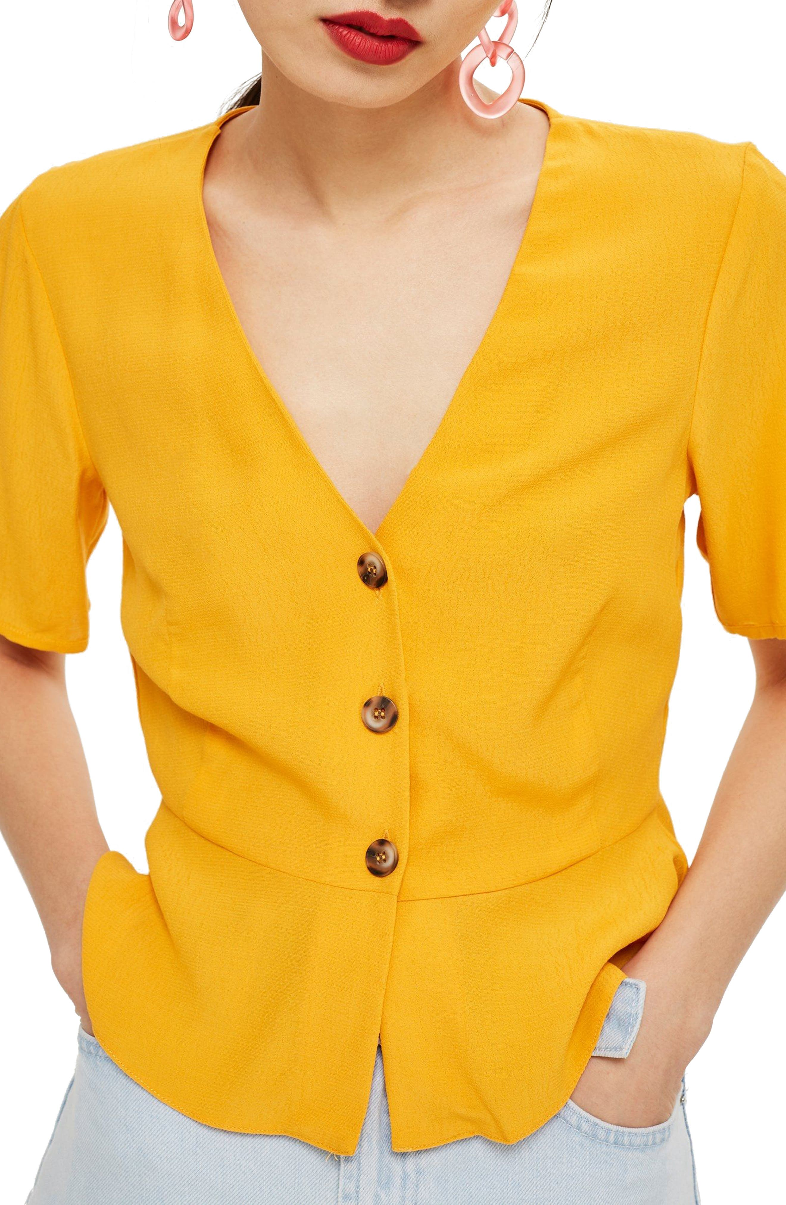 Bryony Tea Button Front Blouse,                             Main thumbnail 1, color,                             Yellow