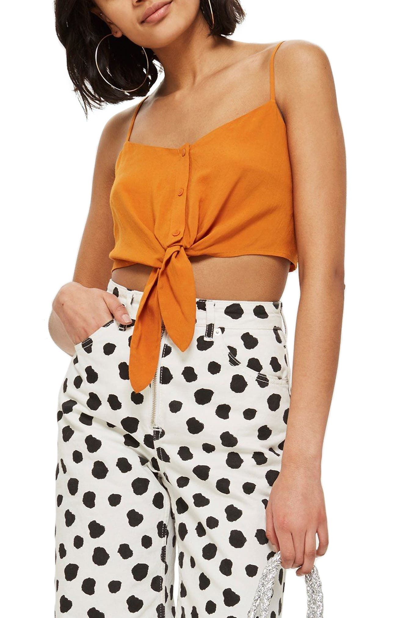 Knot Front Crop Camisole Top by Topshop