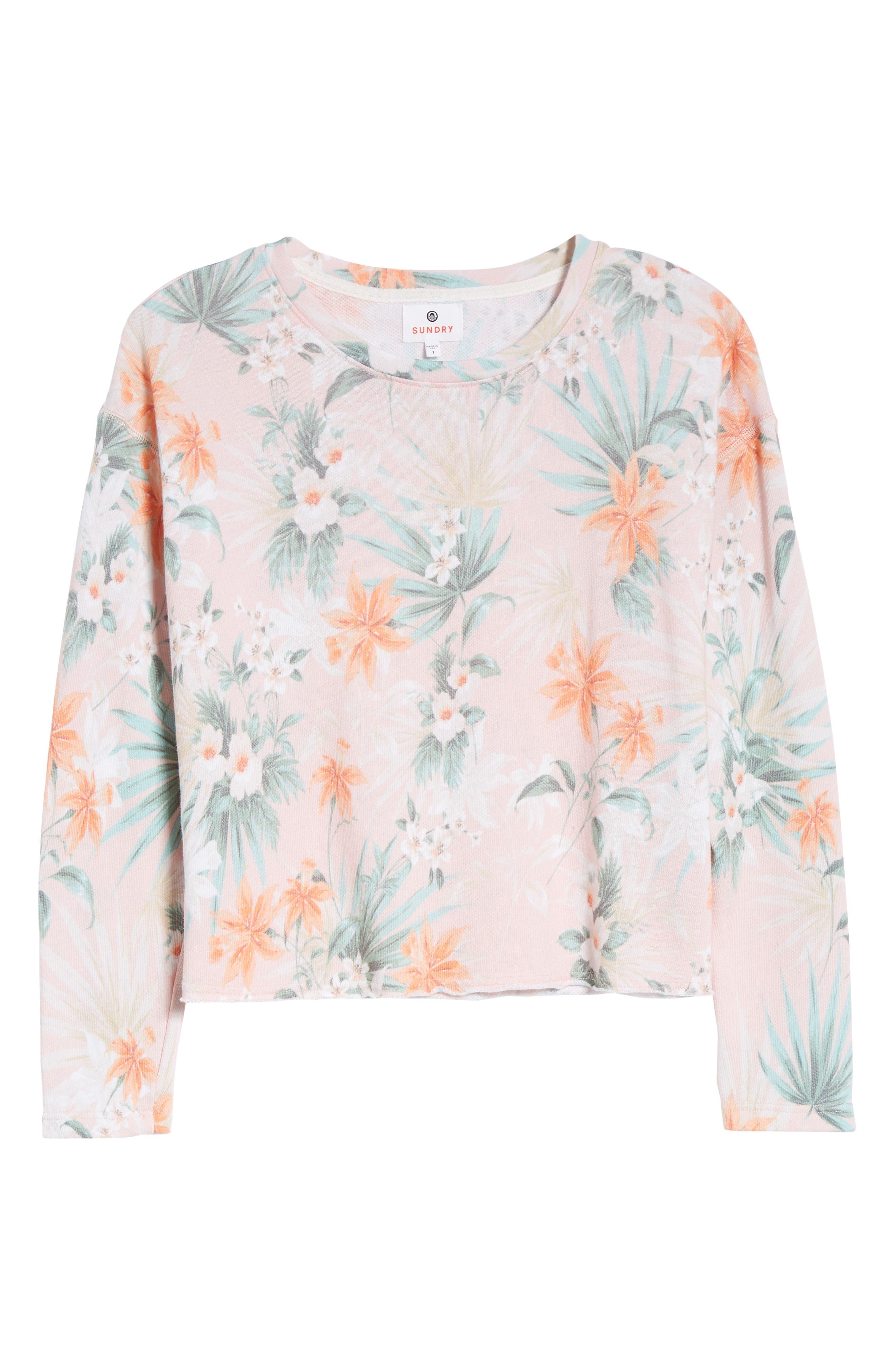 Tropical Crop Sweatshirt,                             Alternate thumbnail 7, color,                             Peach