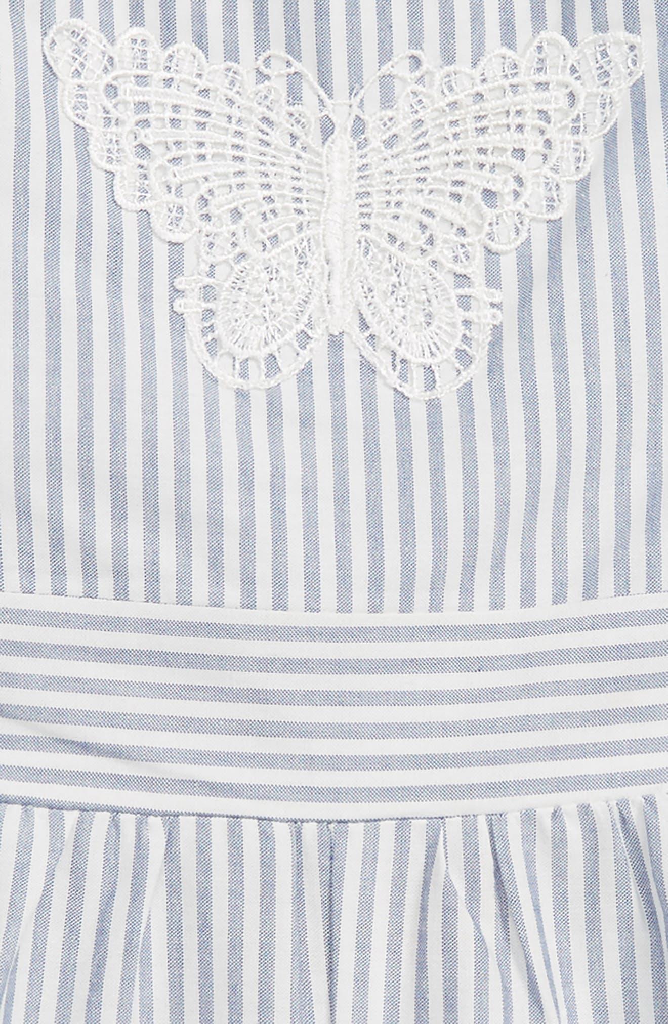 Stripe Romper,                             Alternate thumbnail 2, color,                             Blue/ White