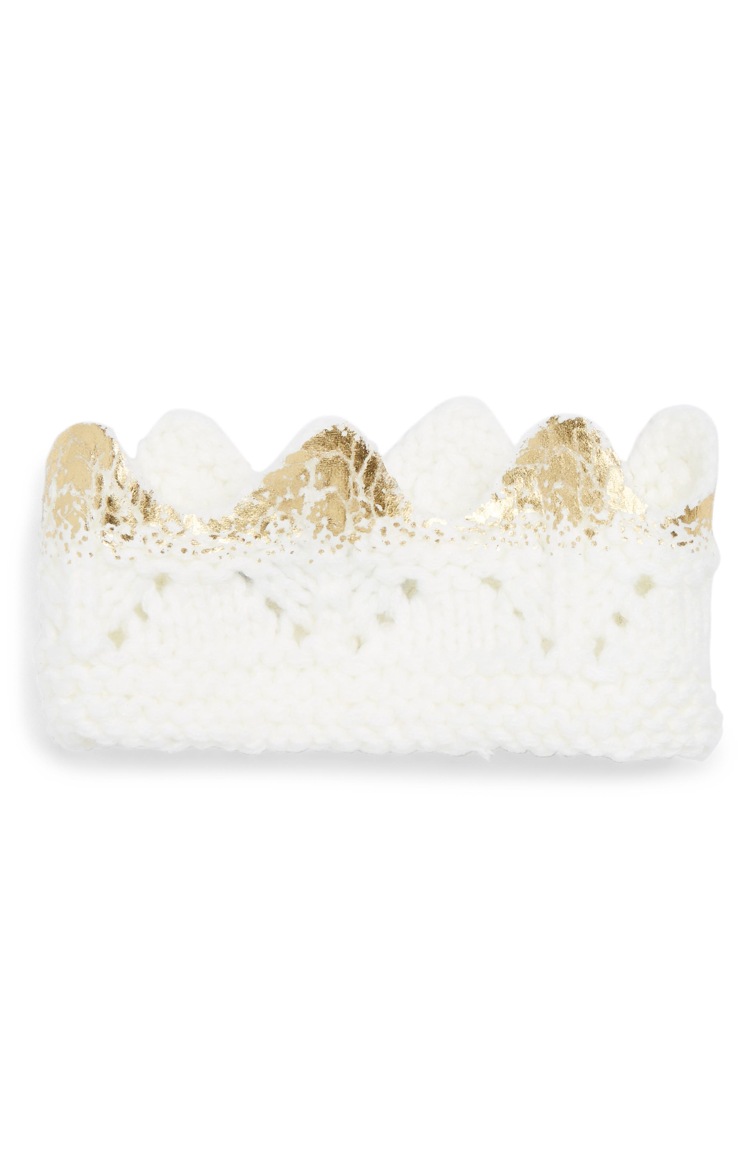 Aiden Knit Crown,                             Main thumbnail 1, color,                             Cream And Gold