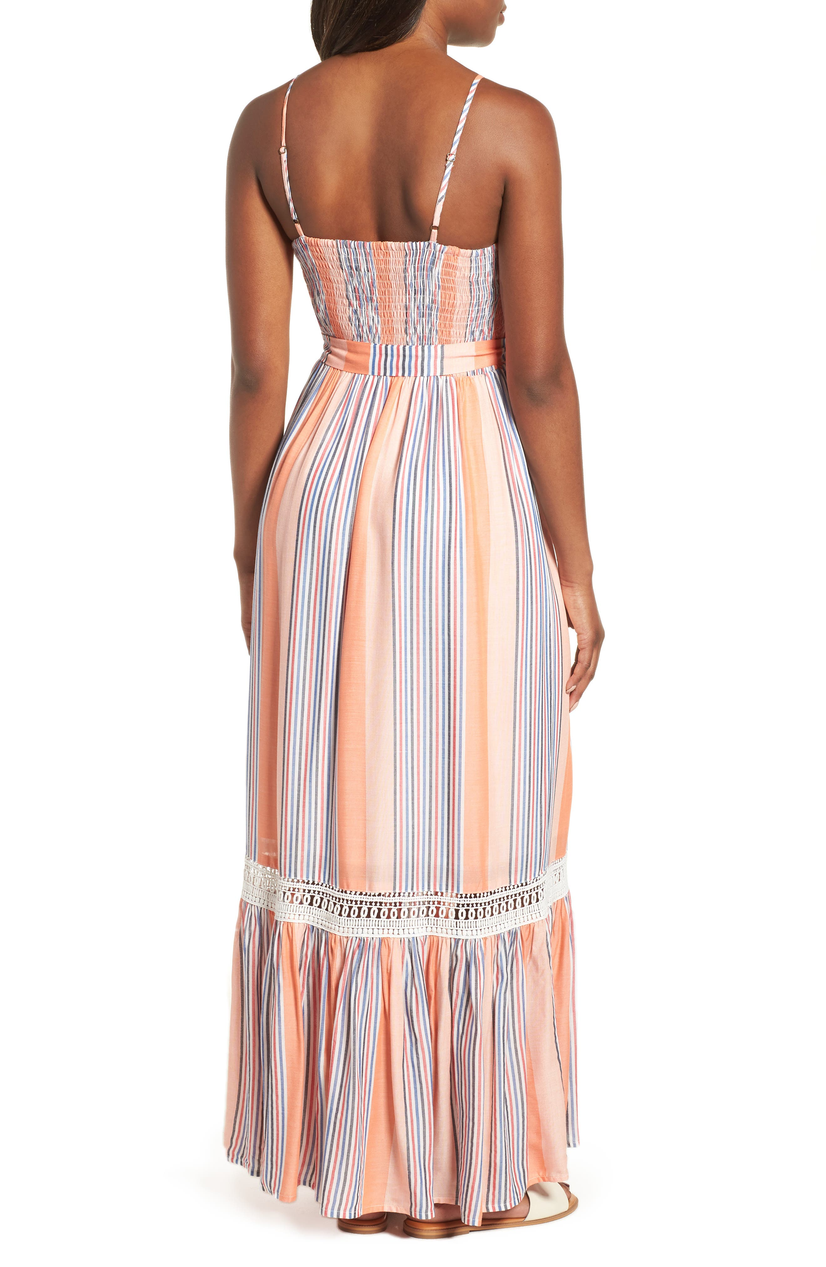 Tie Waist Cotton Maxi Dress,                             Alternate thumbnail 2, color,                             Orange Stripe