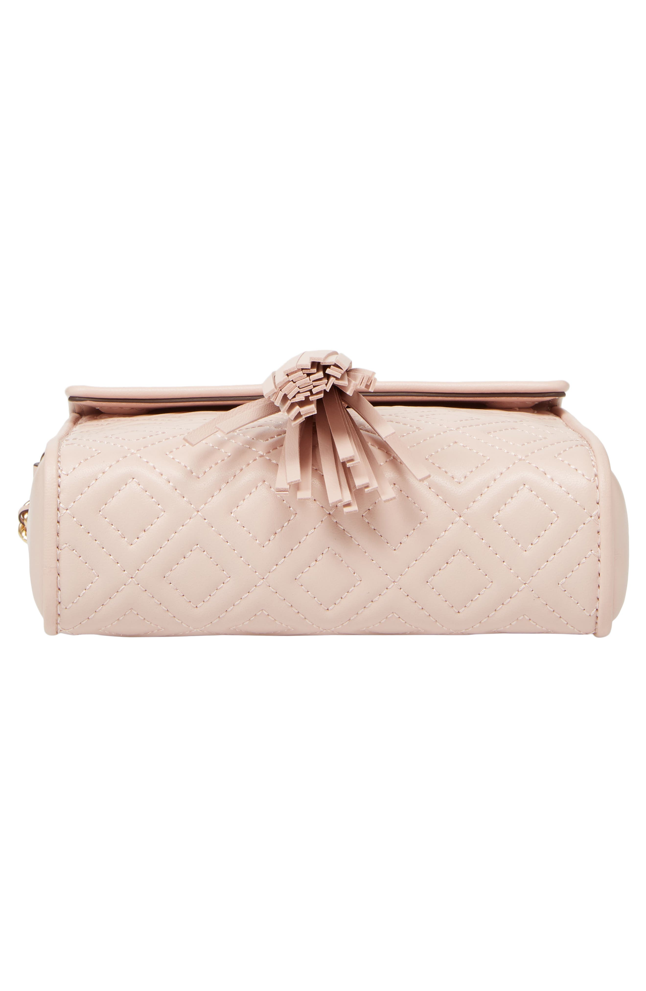 Fleming Quilted Leather Crossbody Bag,                             Alternate thumbnail 7, color,                             Shell Pink
