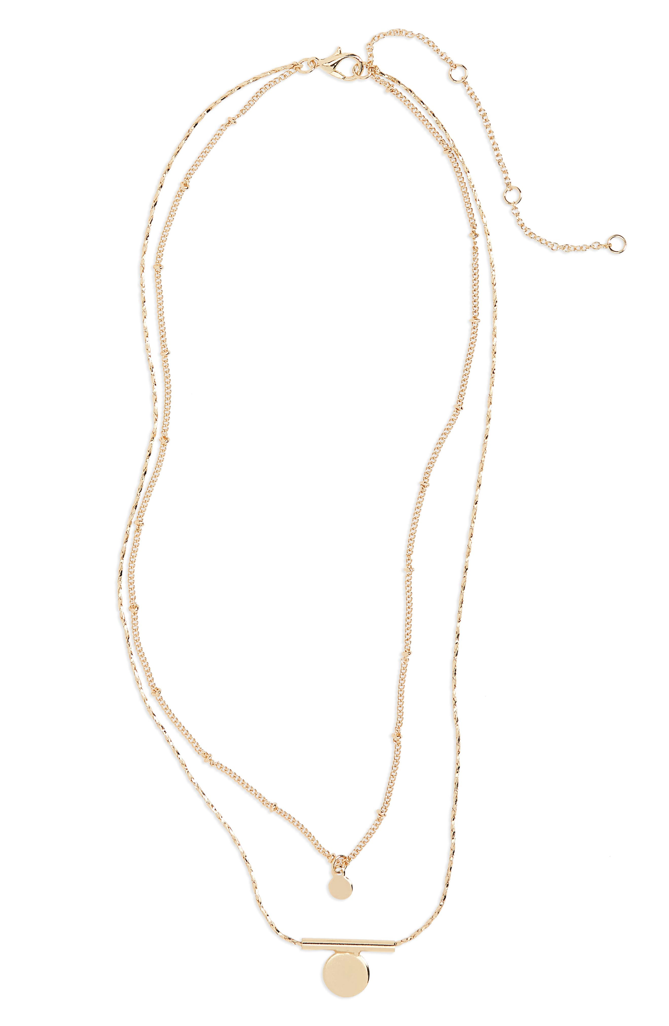 Layered Bar Pendant Necklace,                             Main thumbnail 1, color,                             Gold