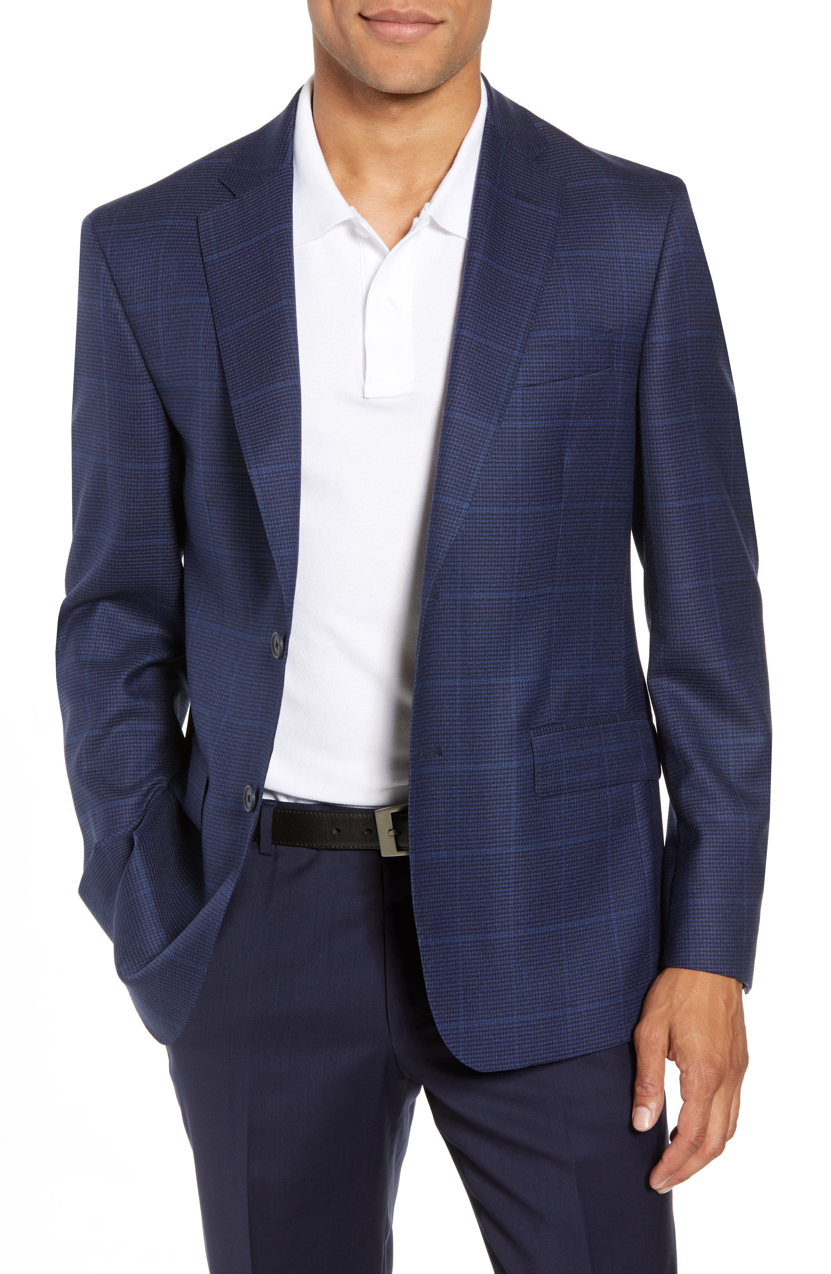 Traditional Fit Windowpane Wool Sport Coat,                         Main,                         color, Blue