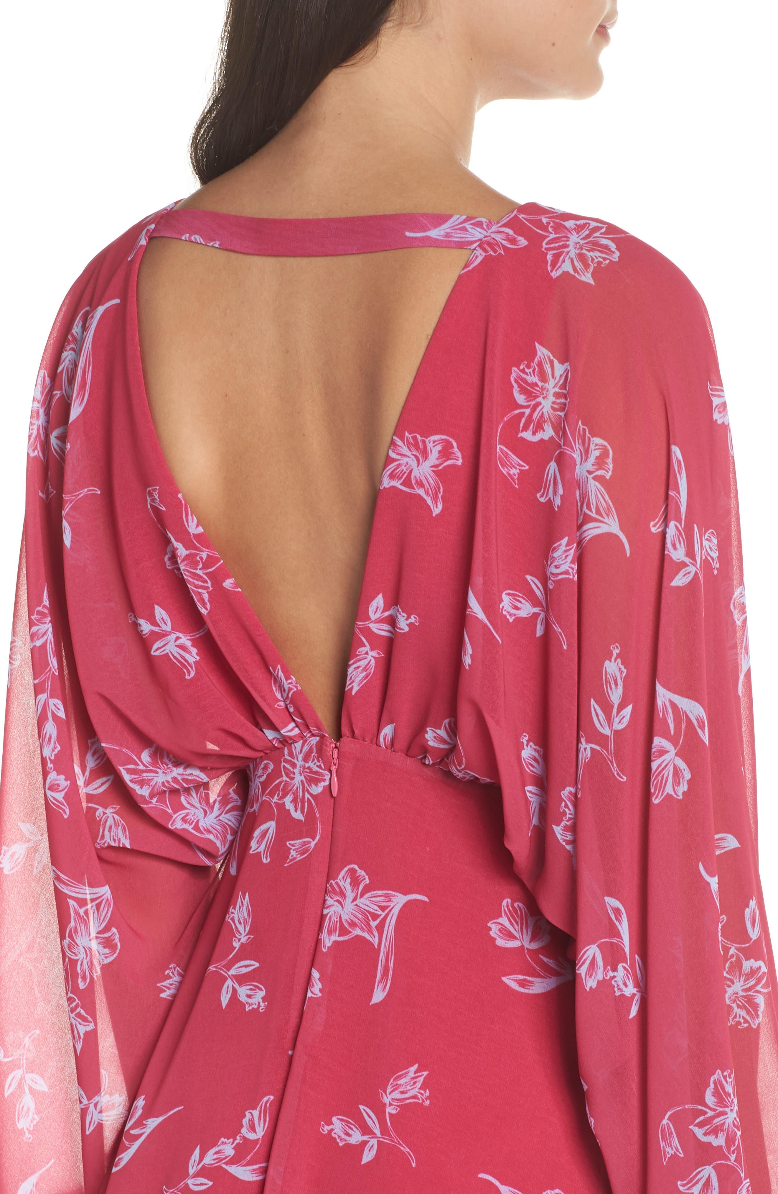 Fame & Partners The Kassidy Georgette Dress,                             Alternate thumbnail 4, color,                             Pop Sketch Floral