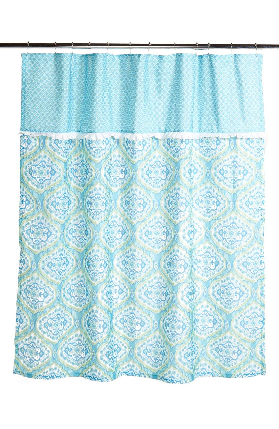 'Tangiers' Shower Curtain,                             Main thumbnail 1, color,                             Aqua