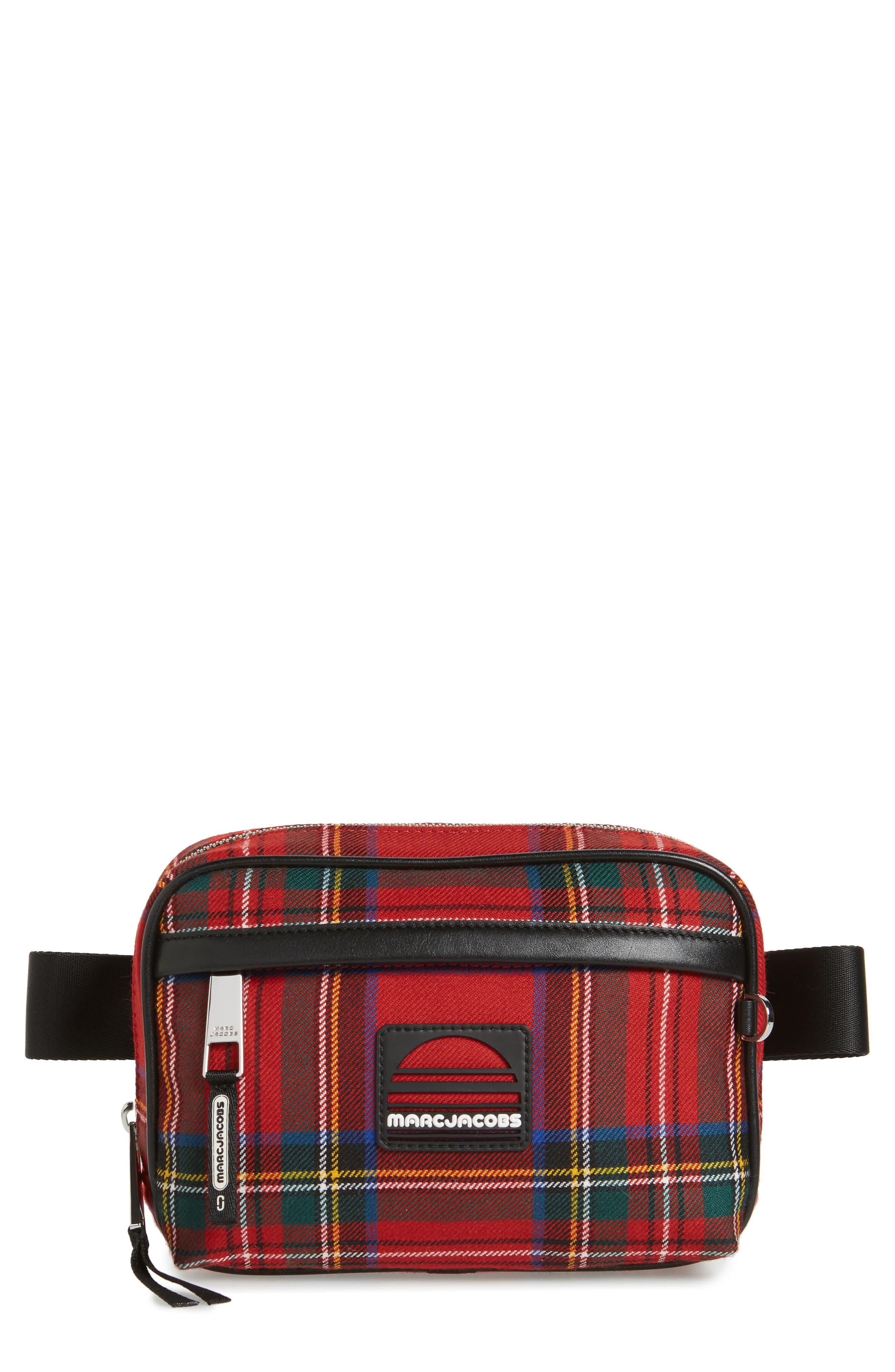 Sport Plaid Belt Bag,                         Main,                         color, Red Multi