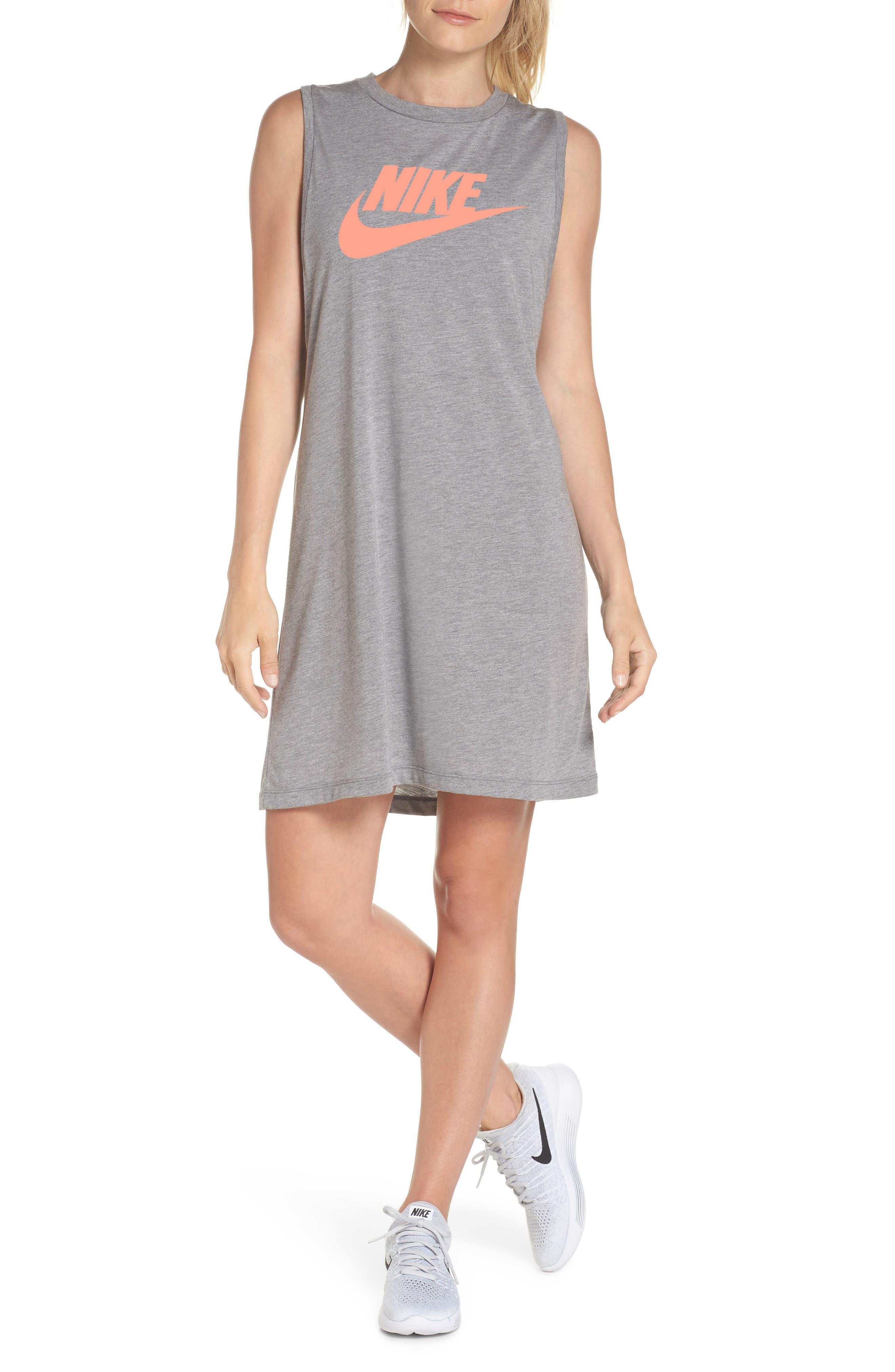 Sportswear Sleeveless Dress,                             Main thumbnail 1, color,                             Carbon Heather/ Crimson Pulse