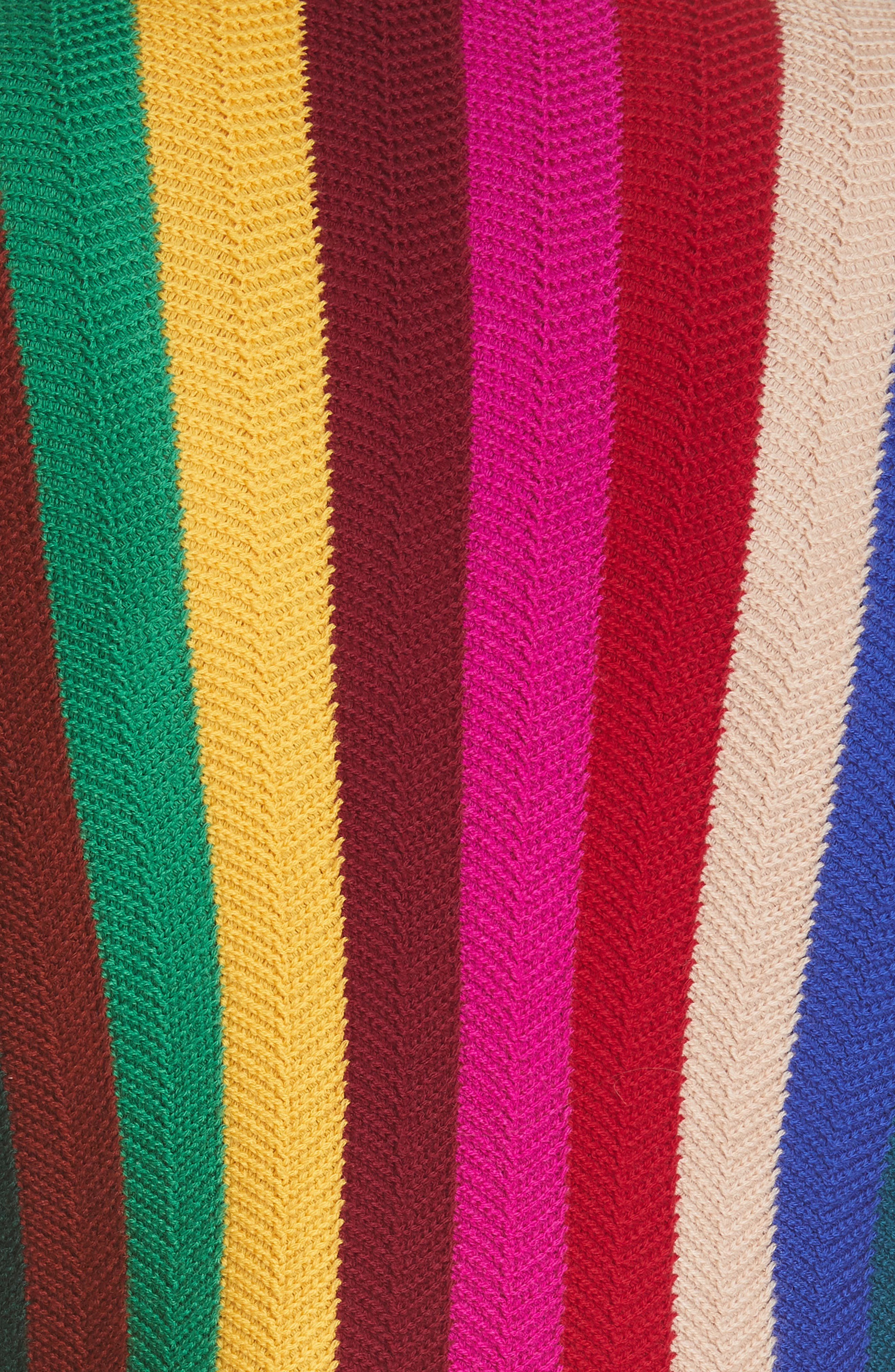 Chevron Vertical Stripe Wool Blend Scallop Hem Sweater,                             Alternate thumbnail 3, color,                             Rainbow Multi