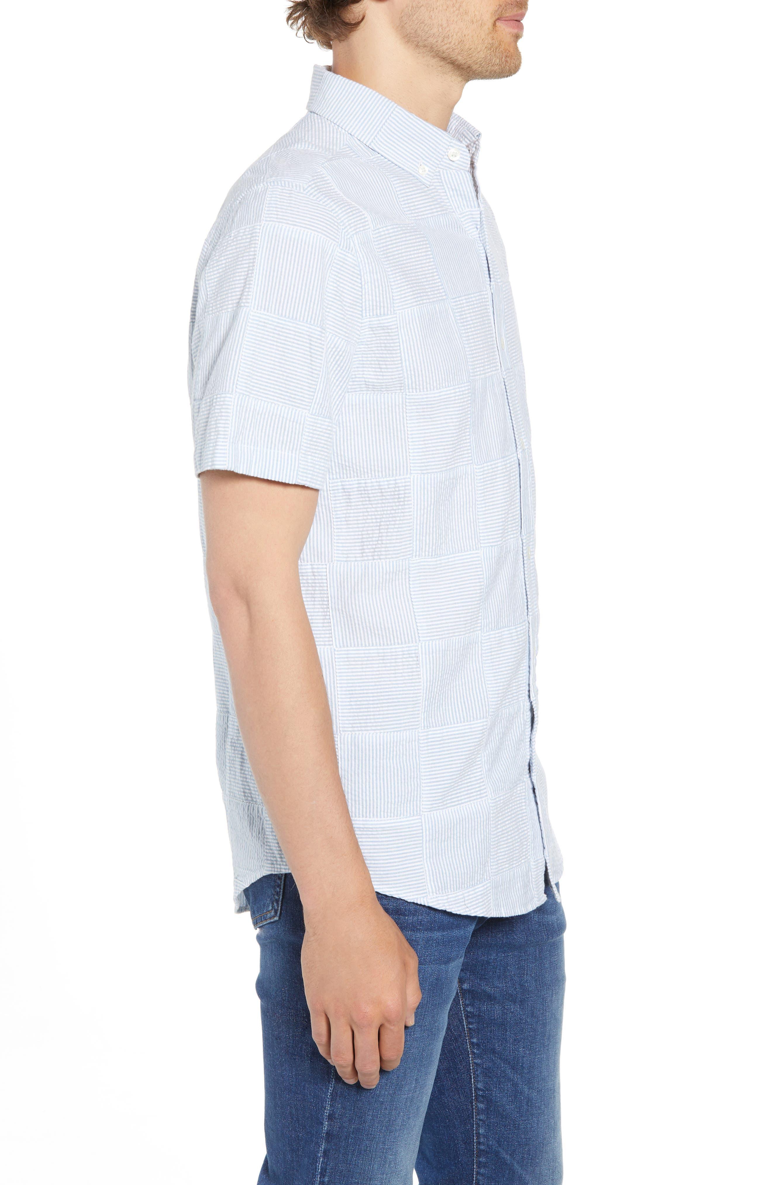 Stripe Patchwork Slim Fit Sport Shirt,                             Alternate thumbnail 4, color,                             Ocean Breeze