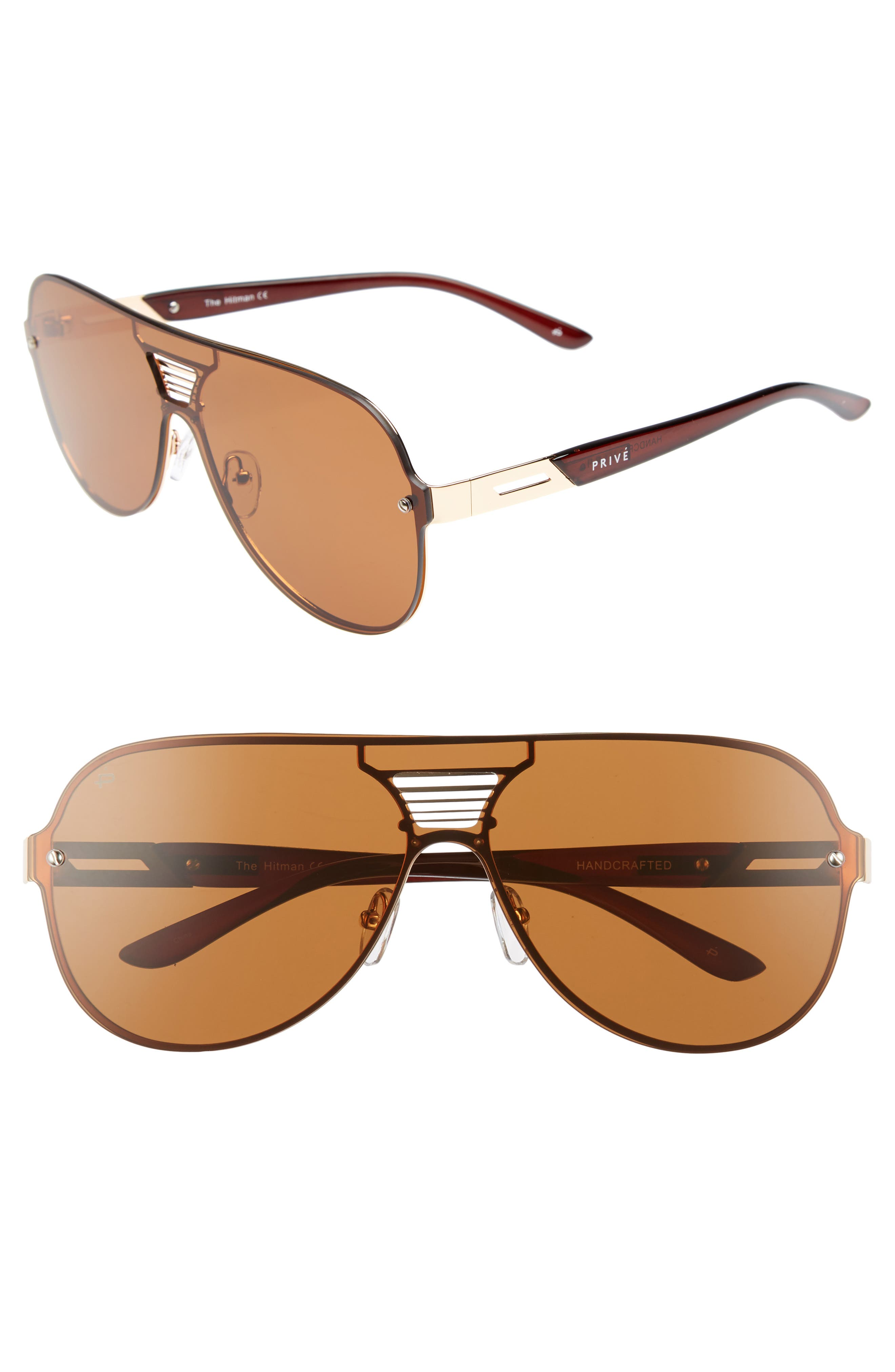 Privé Revaux The Hitman 63mm Polarized Oversize Aviator Sunglasses,                         Main,                         color, Brown
