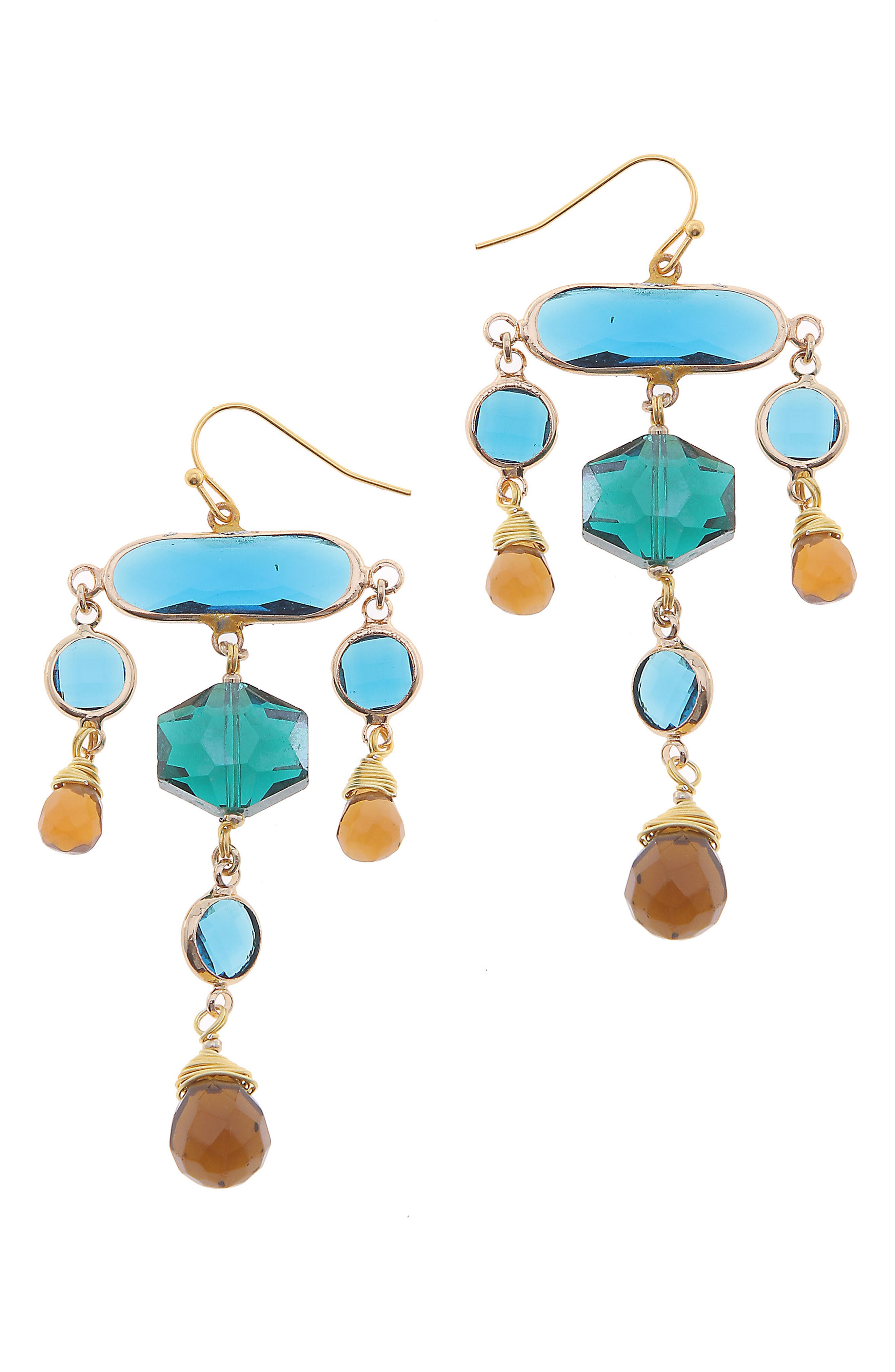 Crystal Statement Earrings,                         Main,                         color, Blue