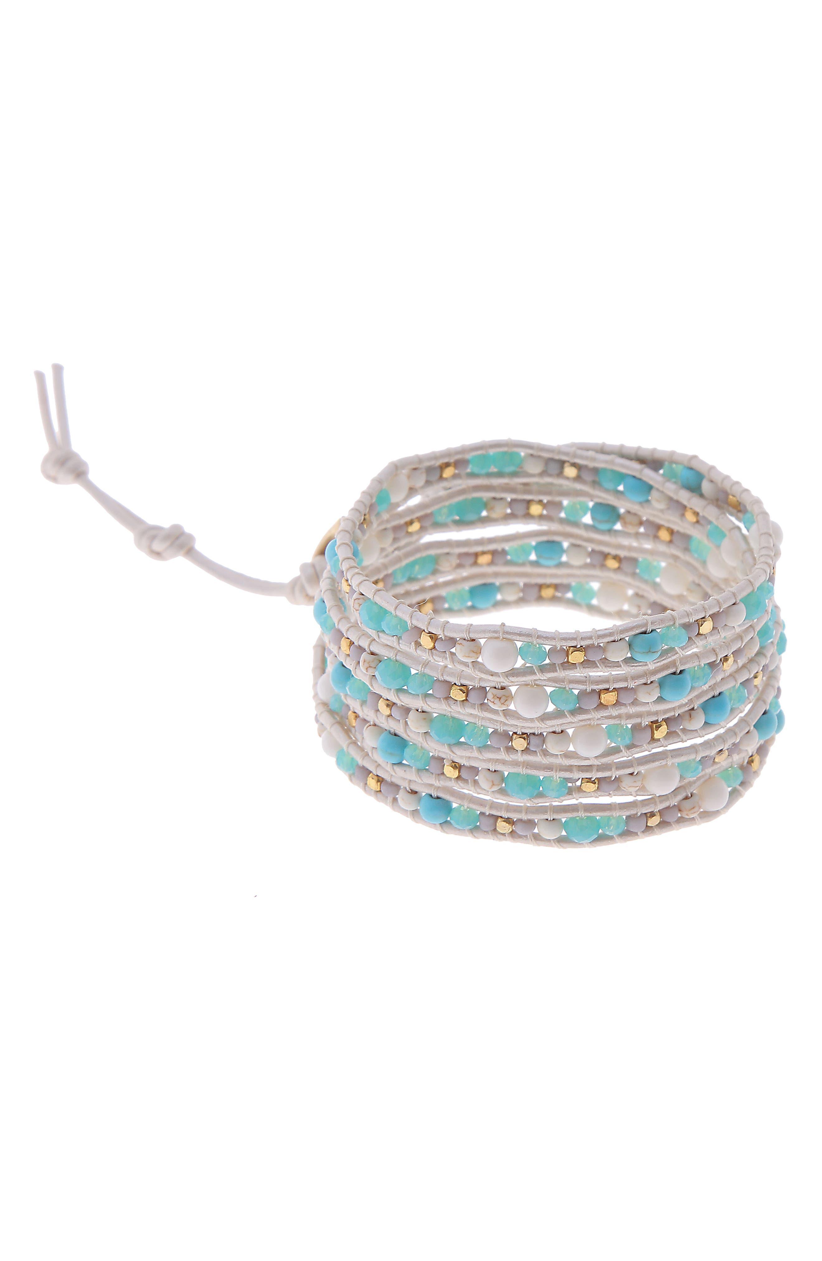 Stone & Metal Wrap Bracelet,                         Main,                         color, Turquoise