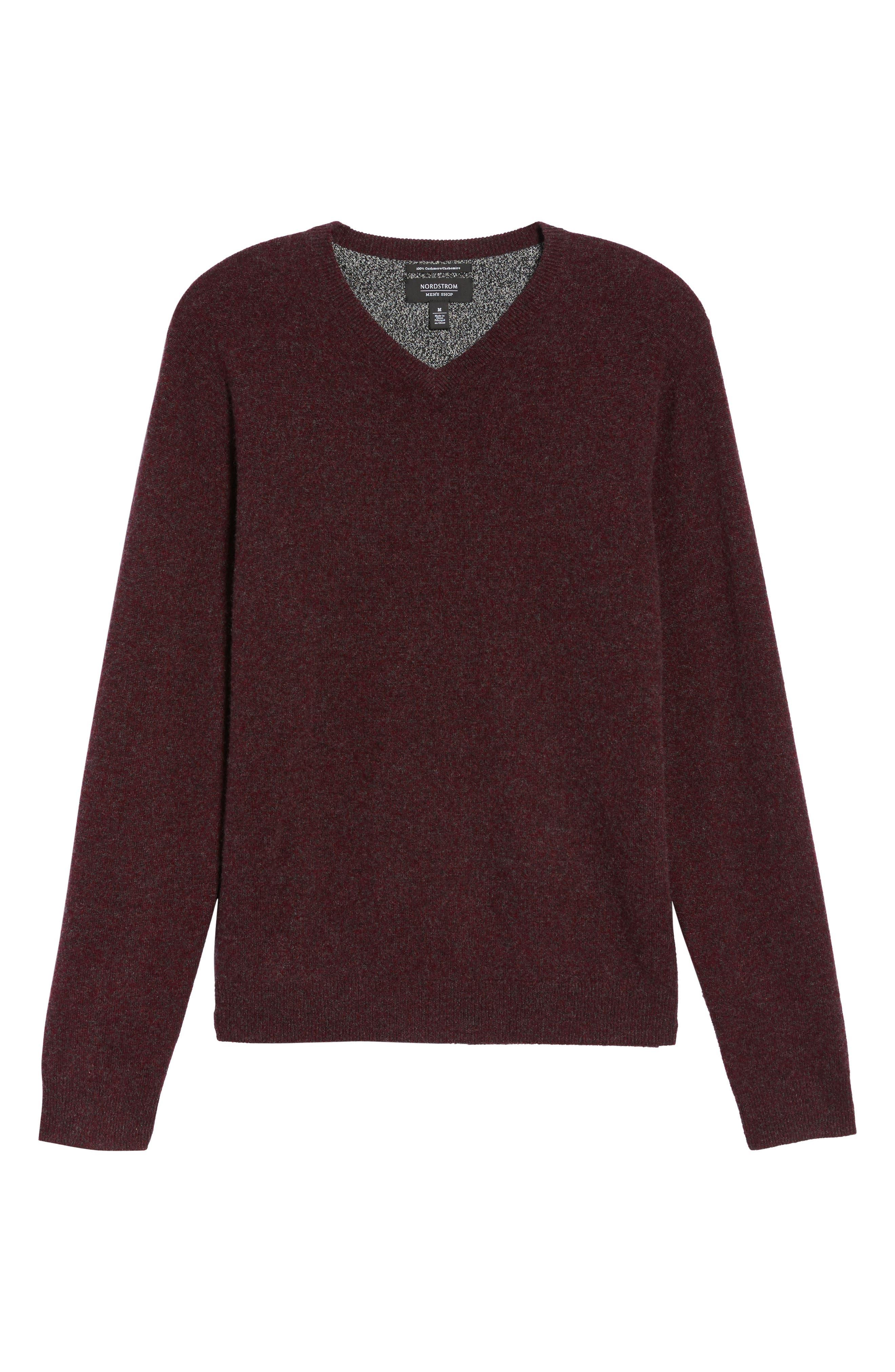 Cashmere V-Neck Sweater,                             Alternate thumbnail 6, color,                             Burgundy Fudge