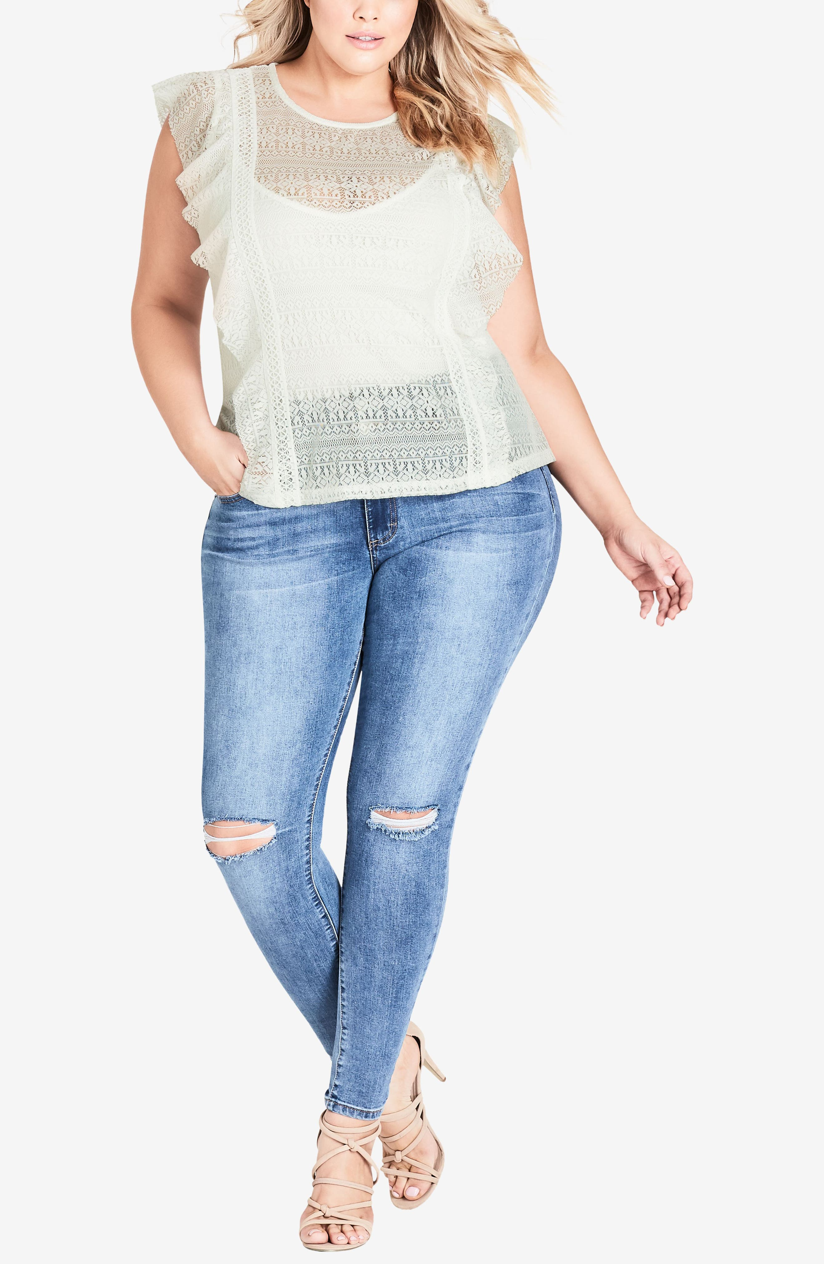 Dreamy Lace Top,                             Alternate thumbnail 3, color,                             Ivory