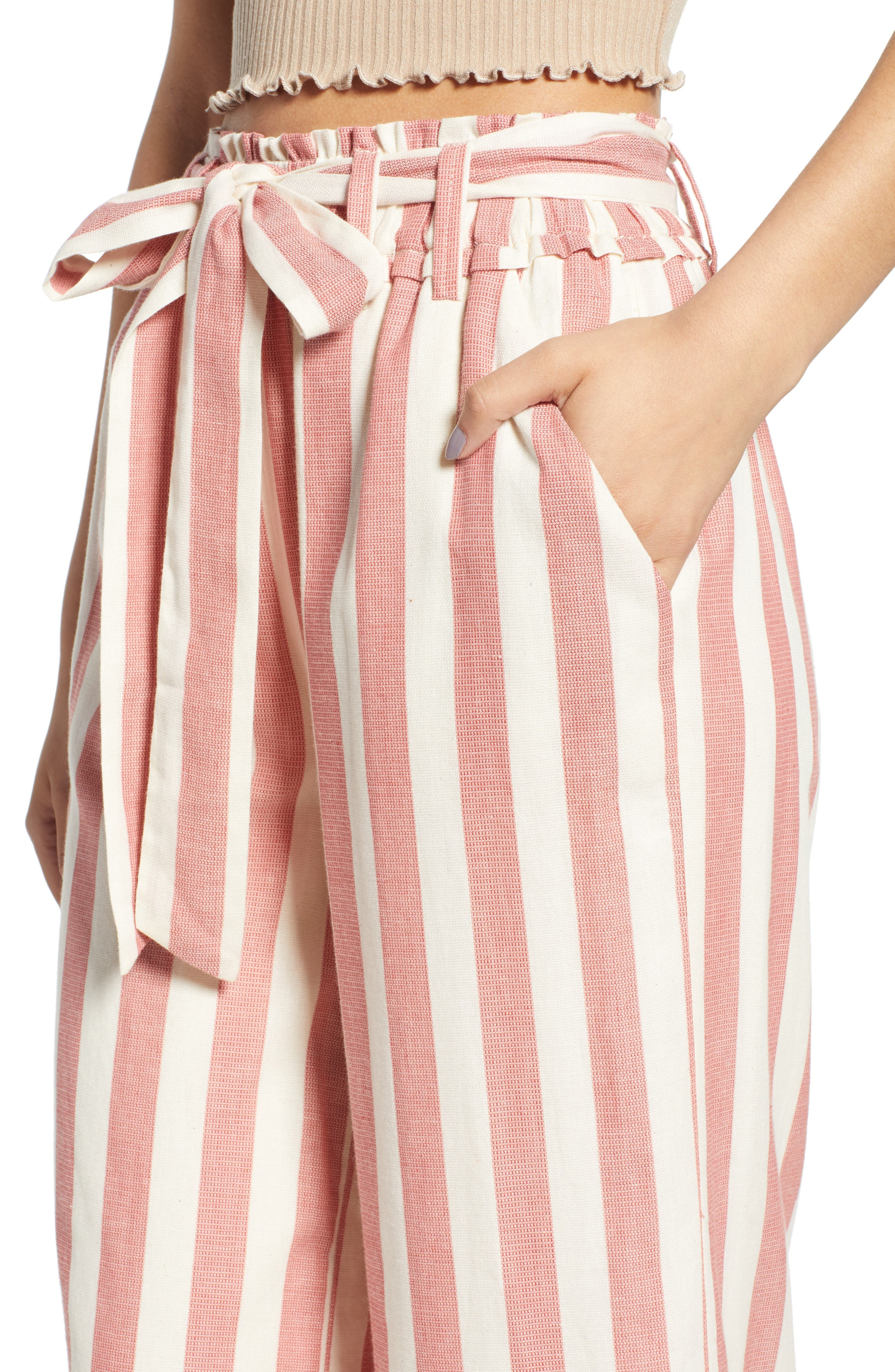 Stripe Paperbag Waist Pants,                             Alternate thumbnail 4, color,                             Red Stripe