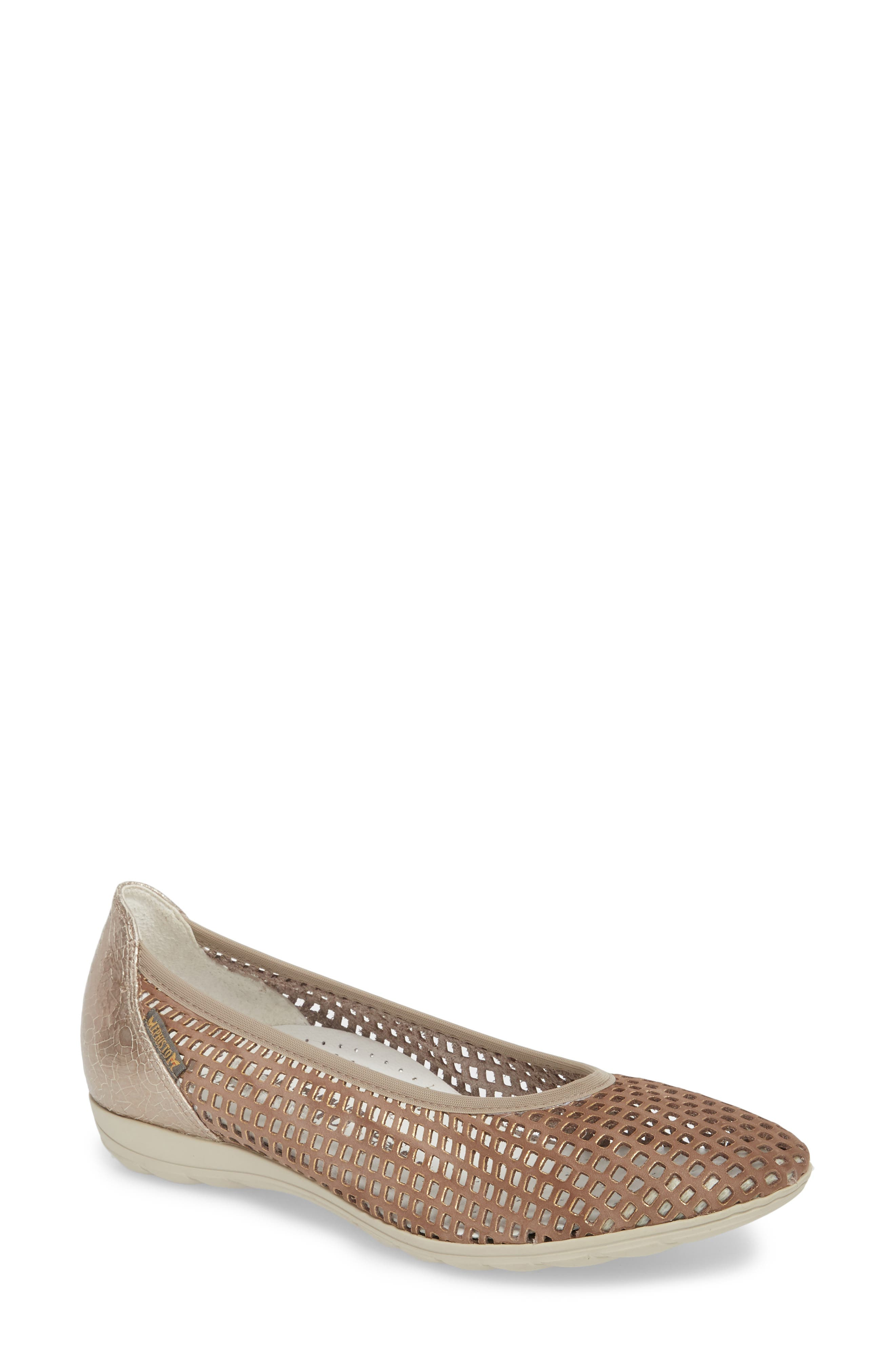 Evelyne Perforated Flat,                         Main,                         color, Taupe Leather