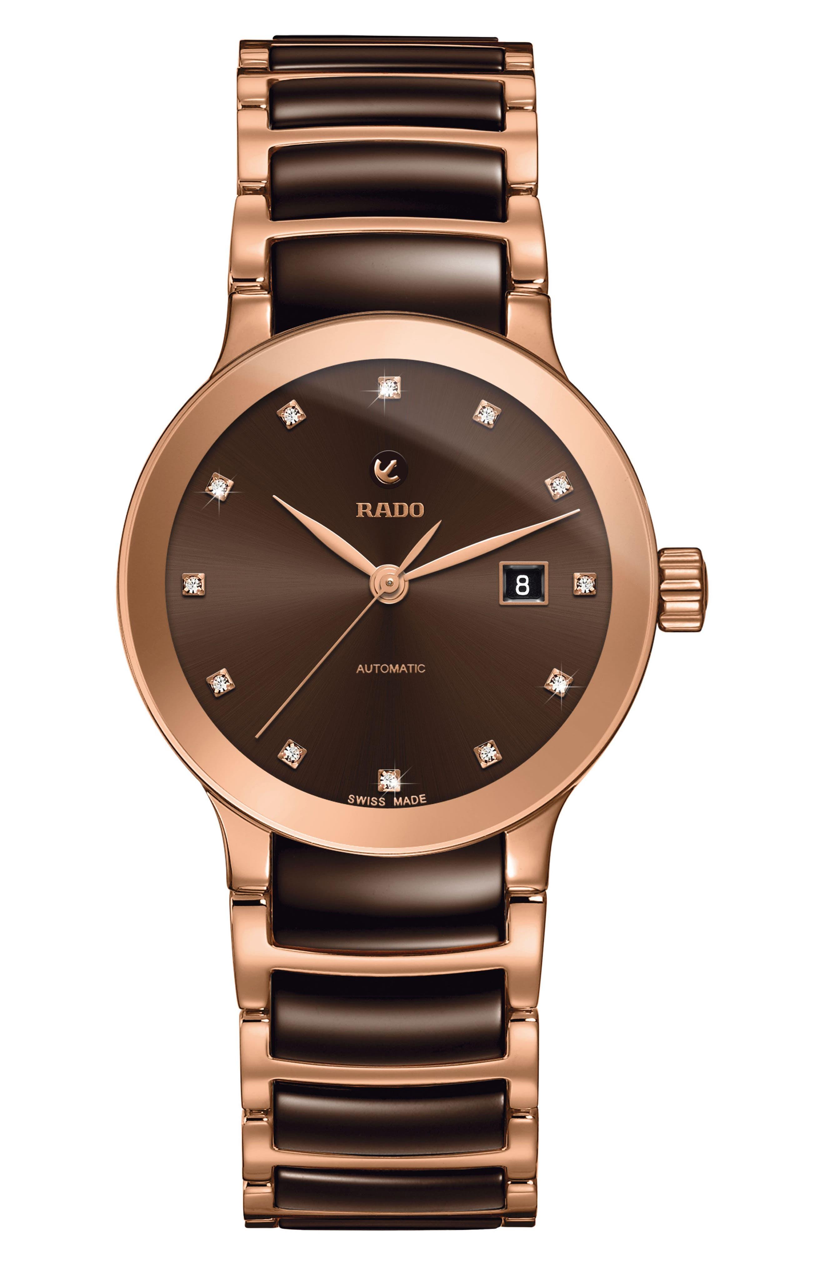 Centrix Automatic Diamond Ceramic Bracelet Watch, 28mm,                             Main thumbnail 1, color,                             Rose Gold/ Brown