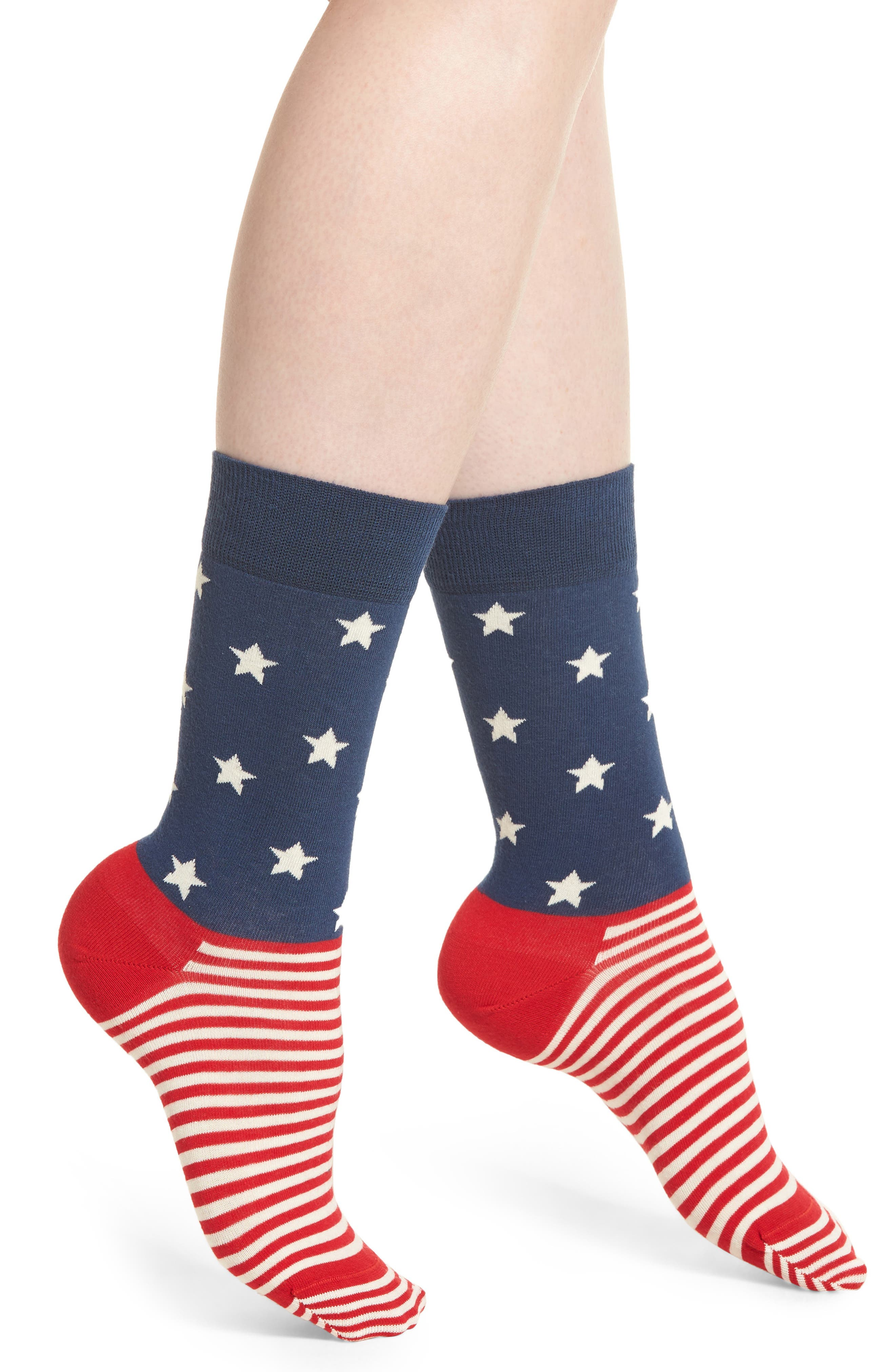 Stars & Stripes Crew Socks,                         Main,                         color, Blue