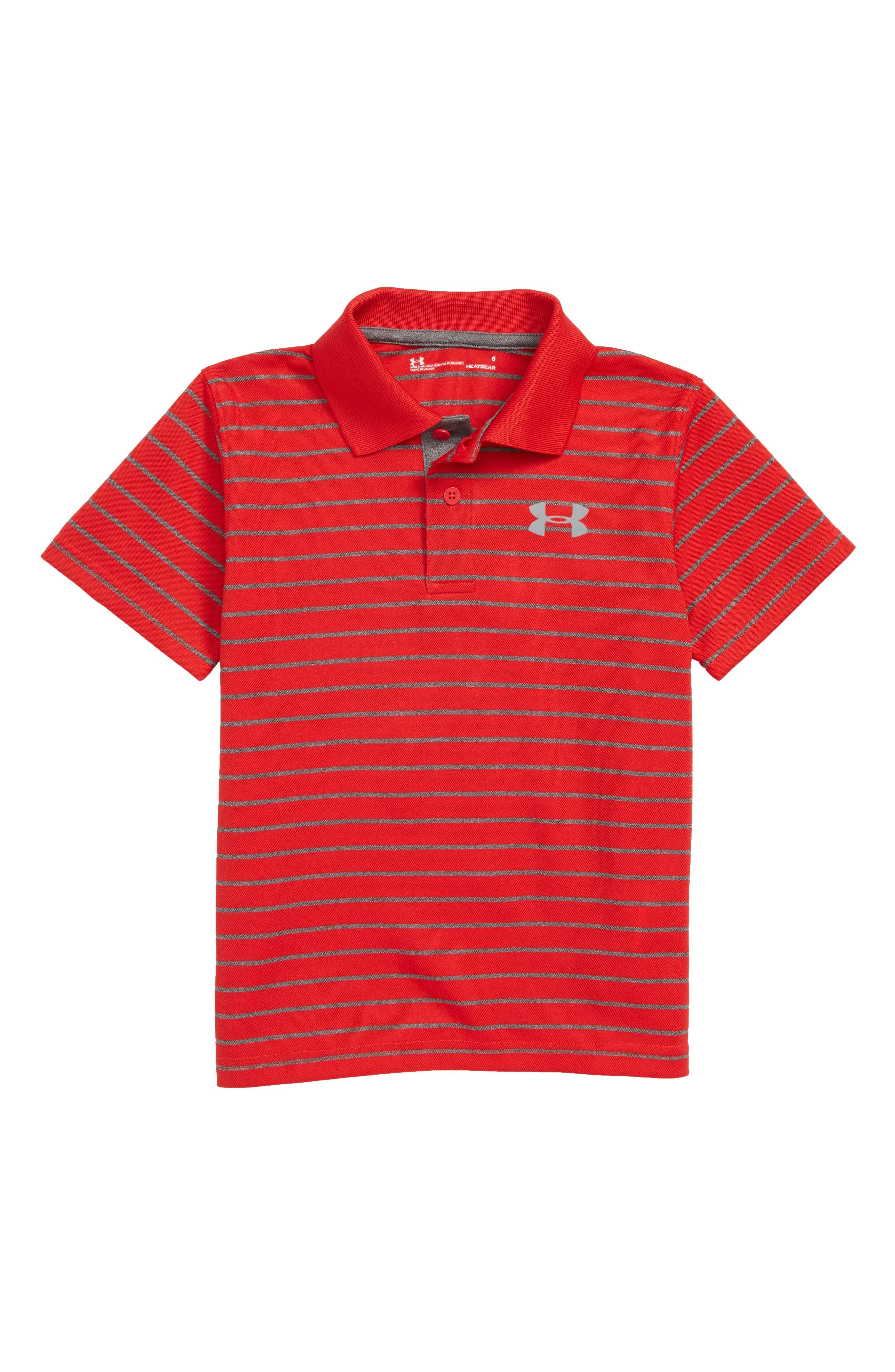 Playoff Stripe HeatGear<sup>®</sup> Polo,                         Main,                         color, Red