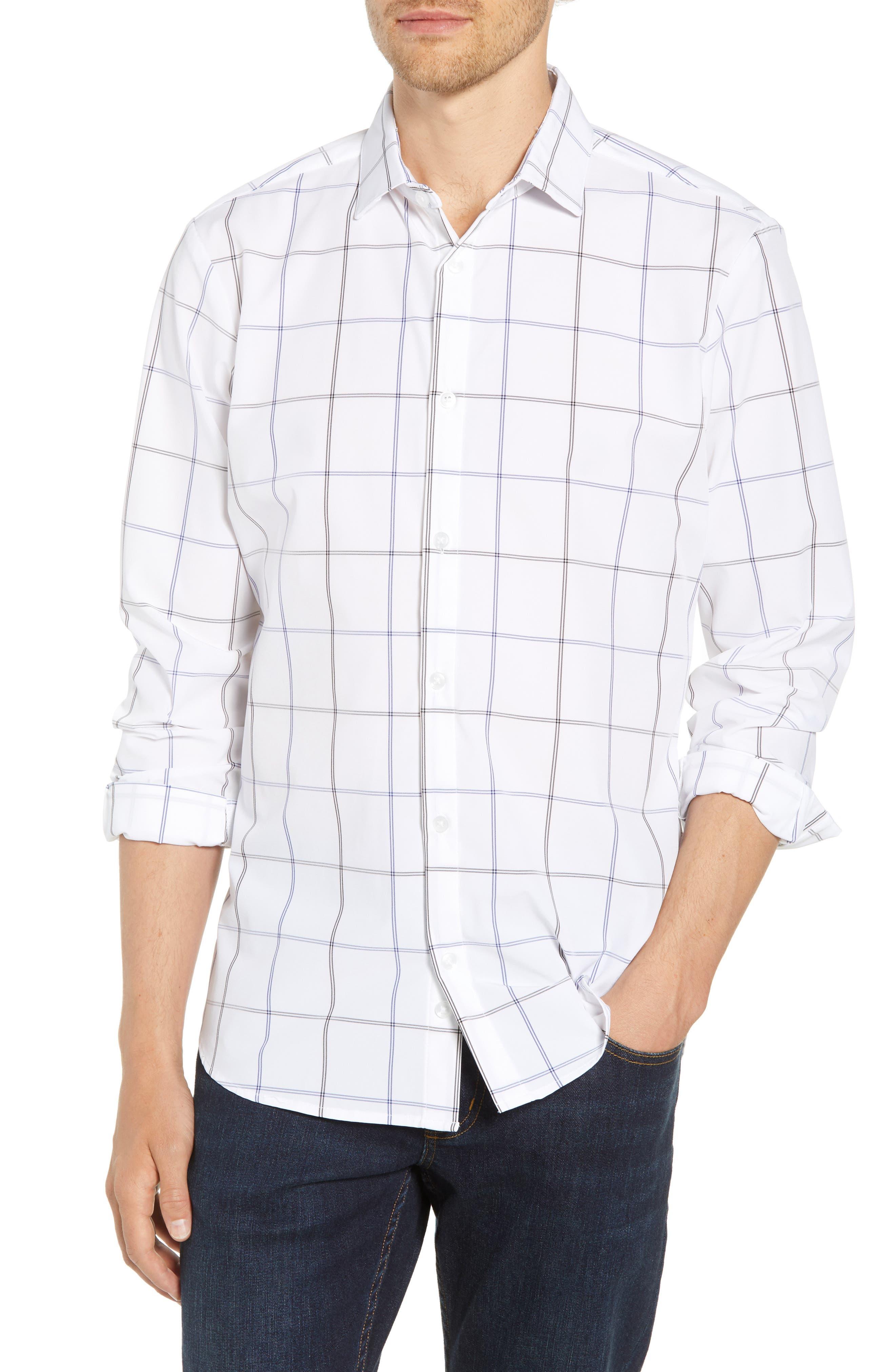 Crossman Slim Fit Grid Performance Sport Shirt,                         Main,                         color, White