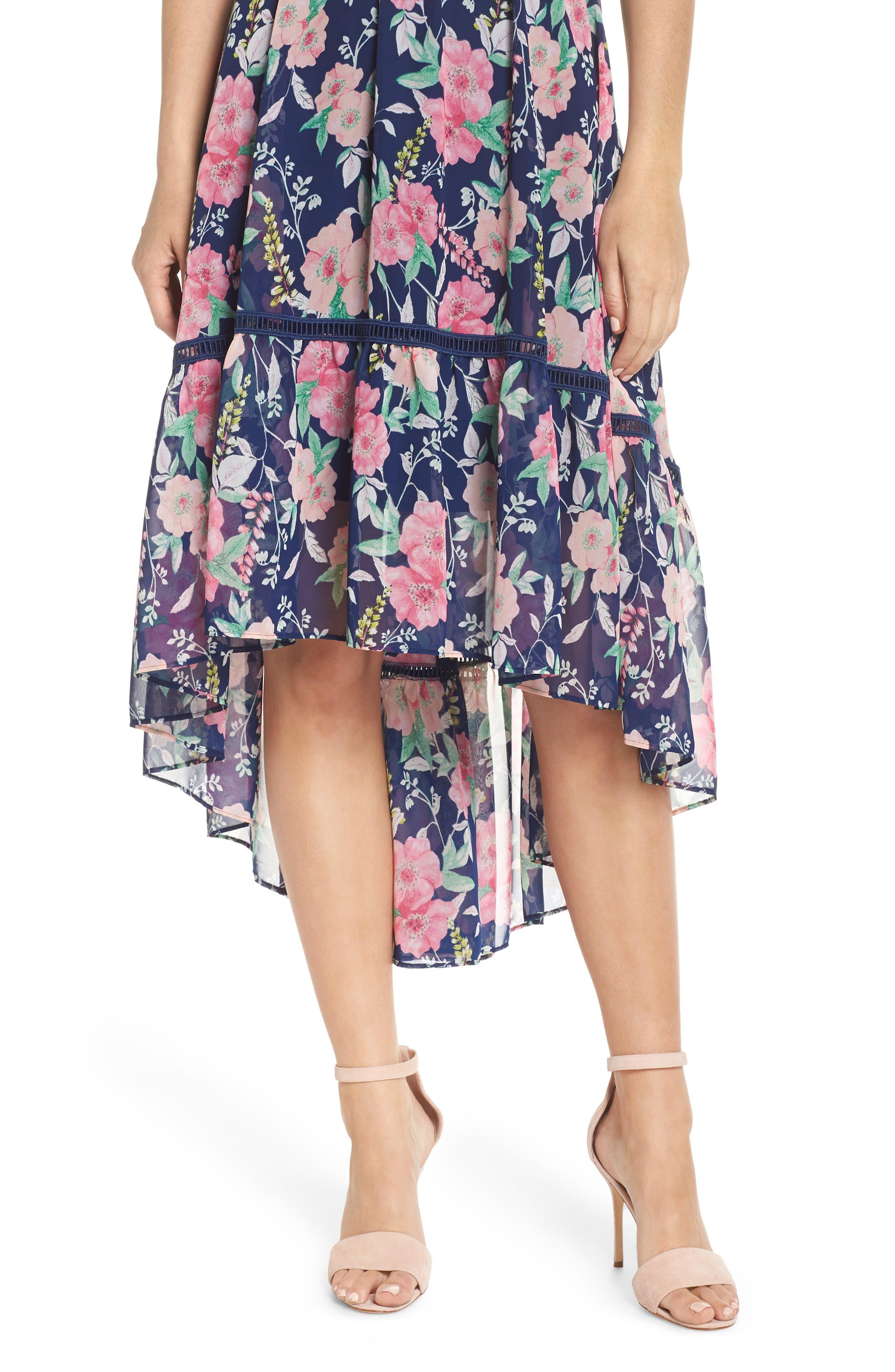 Halter Neck Fit & Flare Dress,                             Alternate thumbnail 4, color,                             Navy/ Pink