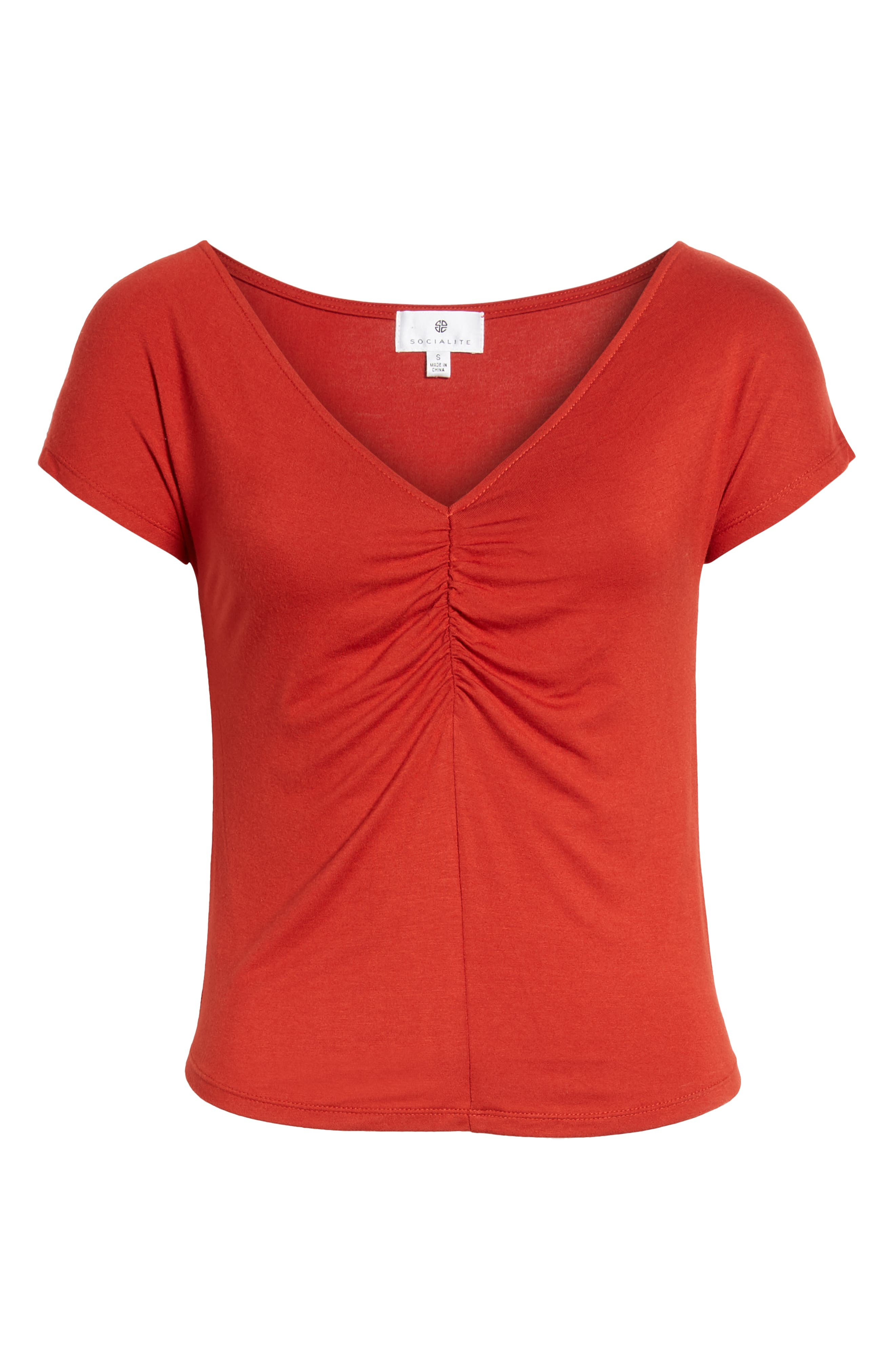 Cinch Front Tee,                             Alternate thumbnail 7, color,                             Red