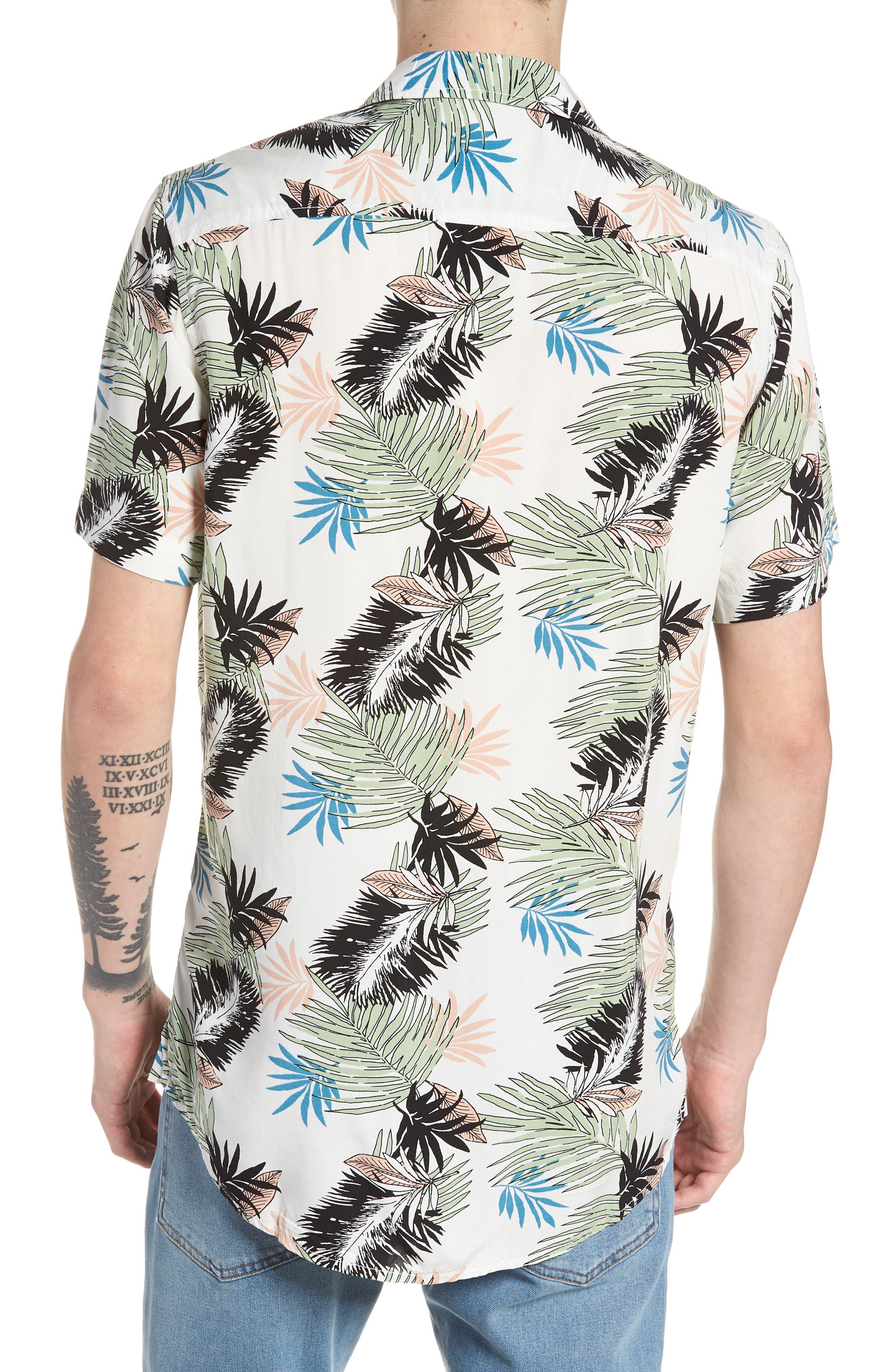 Print Woven Shirt,                             Alternate thumbnail 3, color,                             White Pink Leaf Print