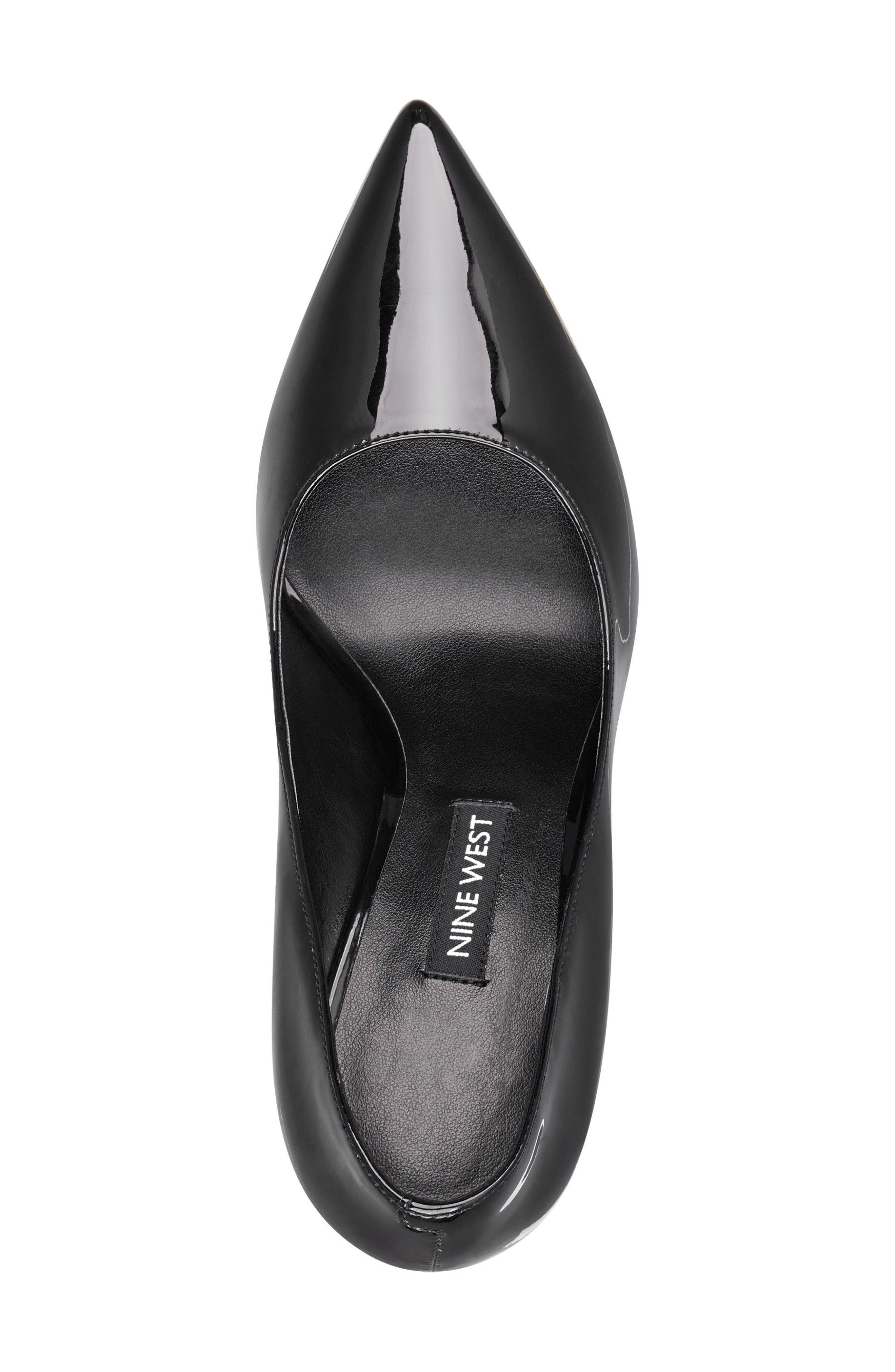 'Tatiana' Pointy Toe Pump,                             Alternate thumbnail 4, color,                             Black Sleek Patent