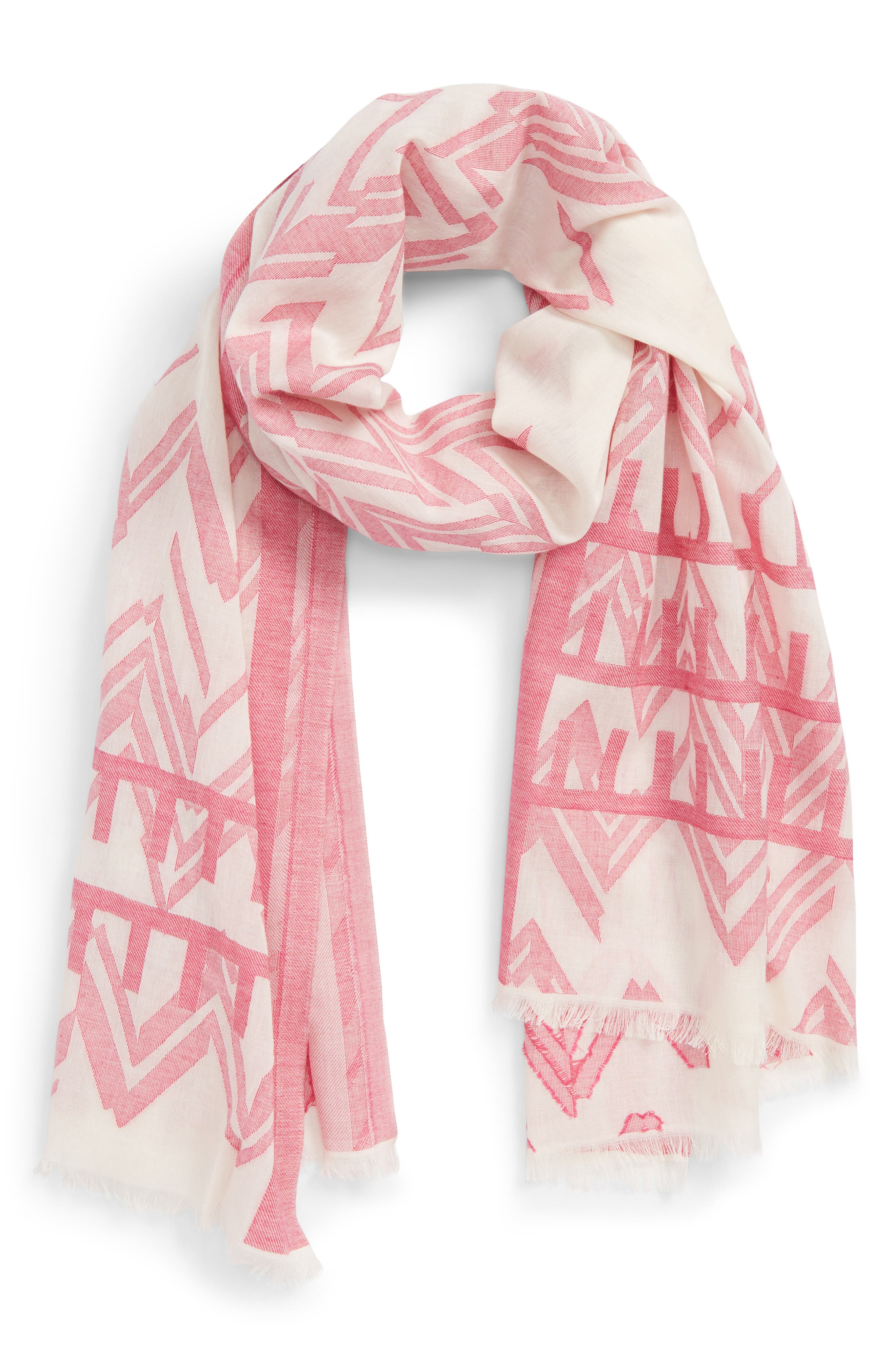 Jacquard Print Cotton Scarf,                         Main,                         color, Cream Multi