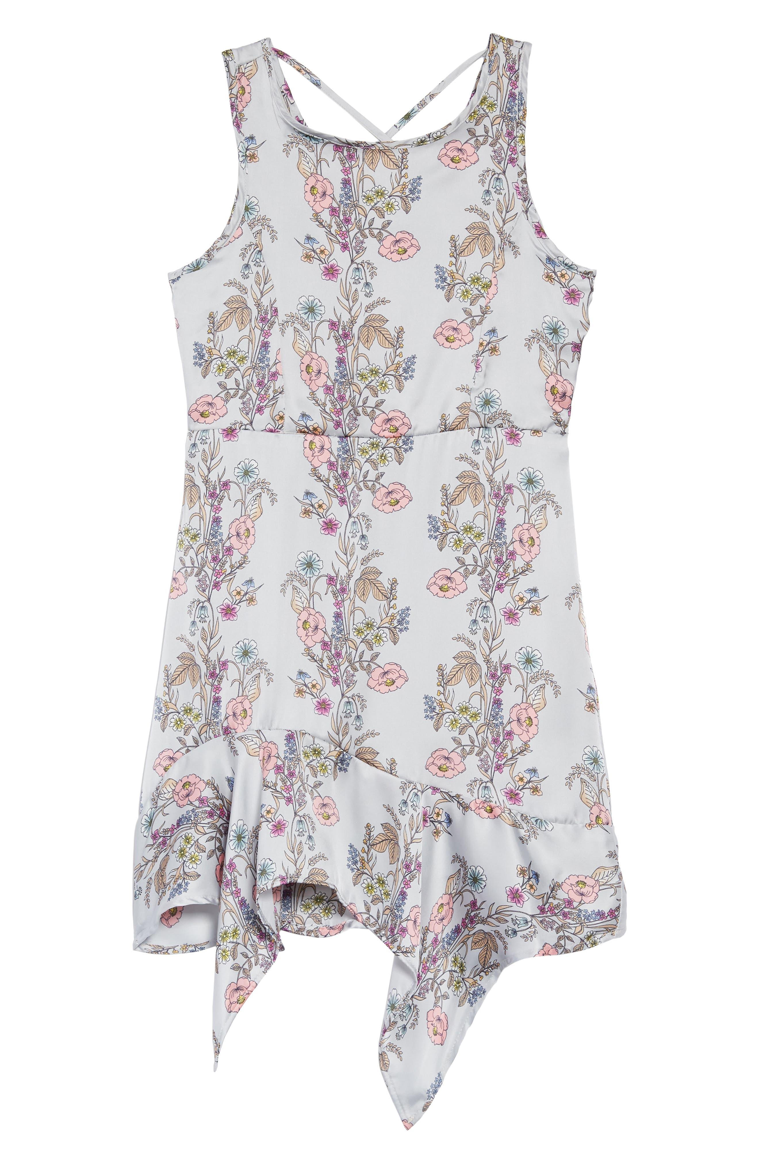 Floral Handkerchief Hem Dress,                             Main thumbnail 1, color,                             Grey Multi
