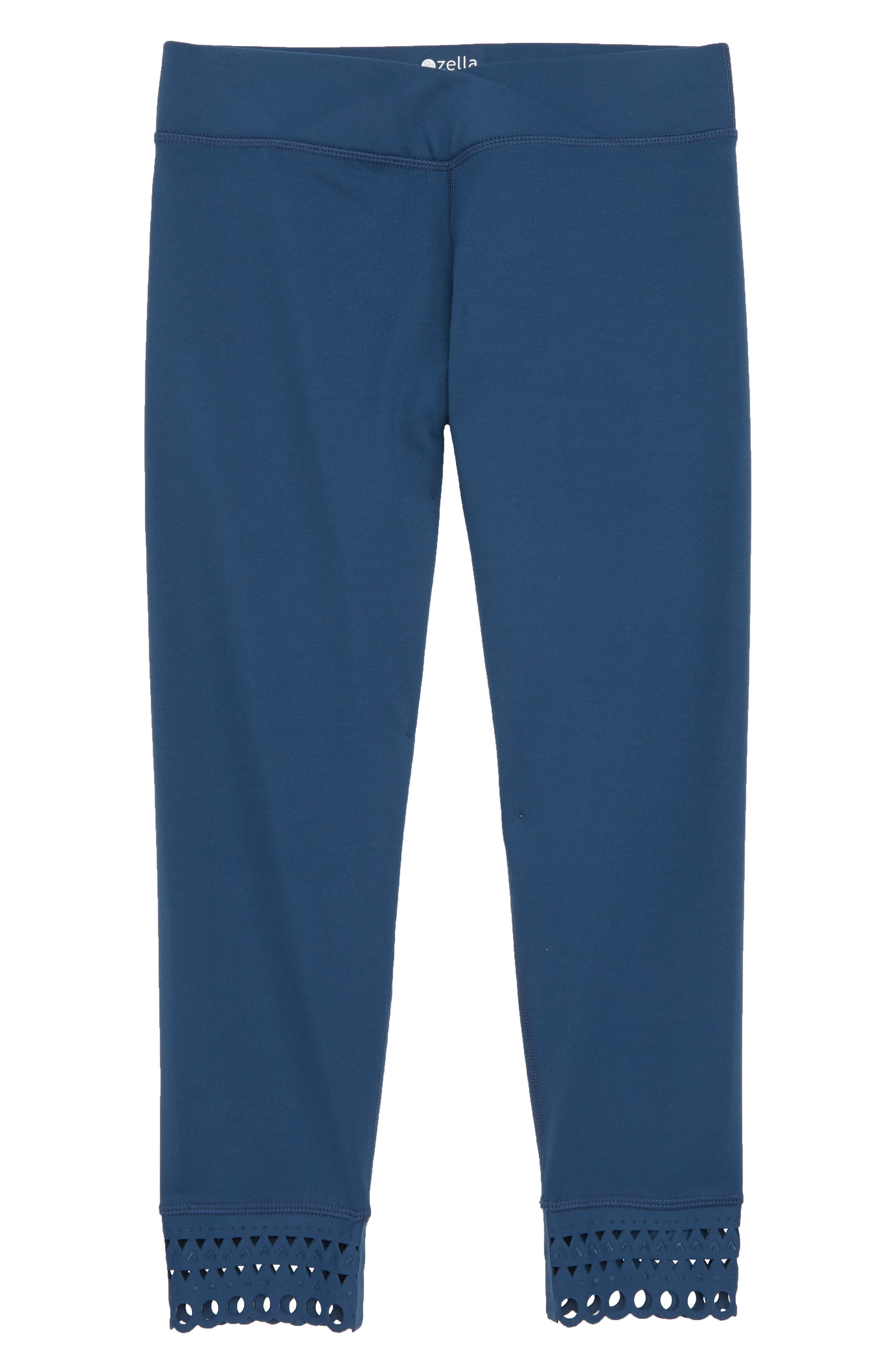 Laser Cut Crop Leggings,                             Main thumbnail 1, color,                             Blue Insignia